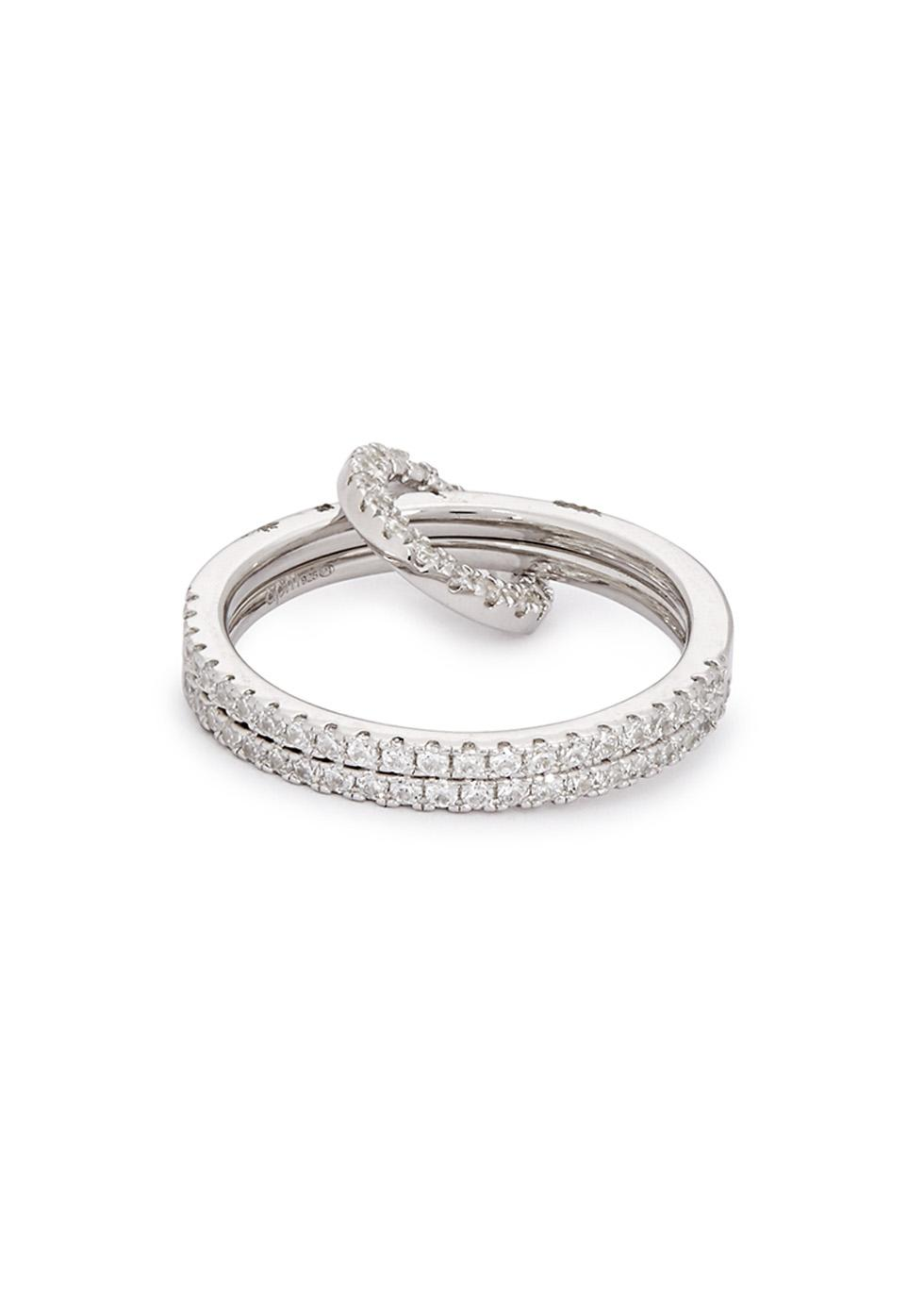 faebe6673 Apm Monaco Crystal-embellished Double Sterling Silver Ring in ...