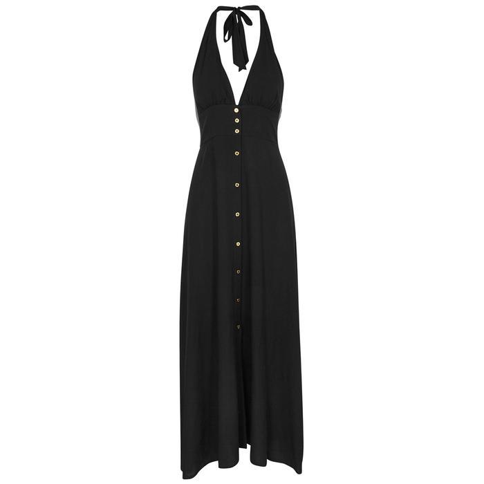Oman Halterneck Voile Maxi Dress - Black Heidi Klein gMiUpg2