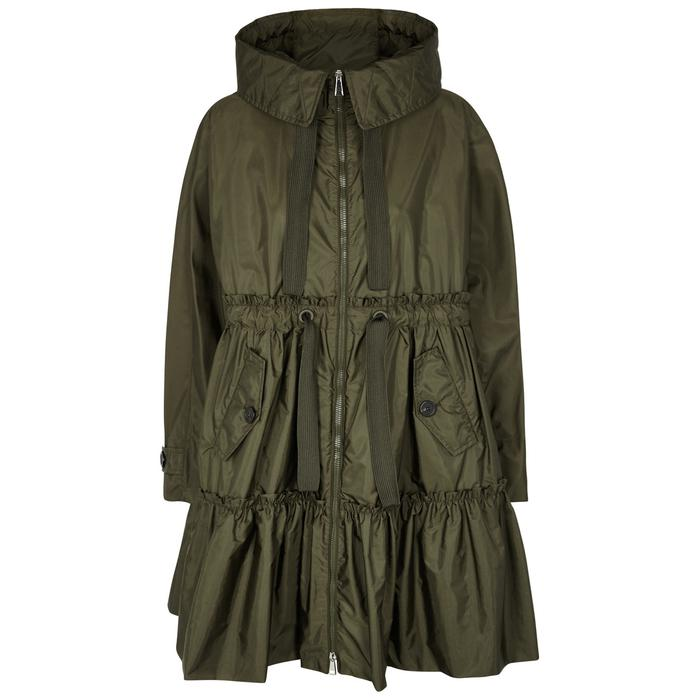 Moncler. Women's Green Turquoise Olive Tiered Shell Coat