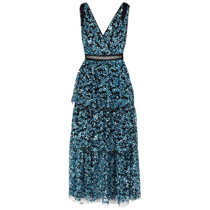 f9199fbe65df Self-Portrait. Women's Blue Tiered Sequinned Midi Dress. £385 From Harvey  Nichols