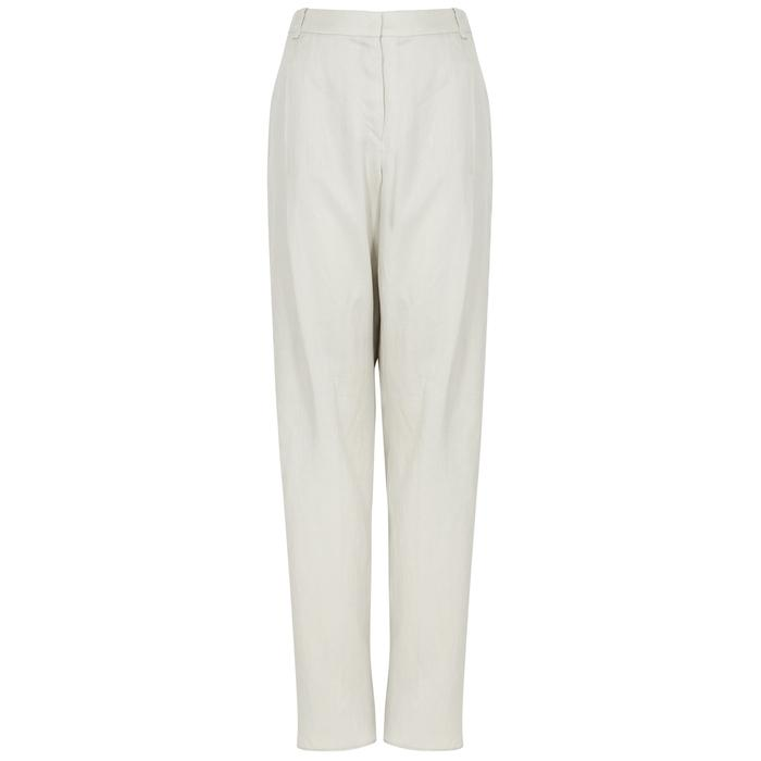 d395bff2b2 Emporio Armani Light Grey Linen Trousers in Gray - Lyst
