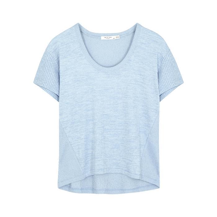 Rag  Bone Clara Torqued Blue Jersey T-Shirt In Blue - Lyst-3836