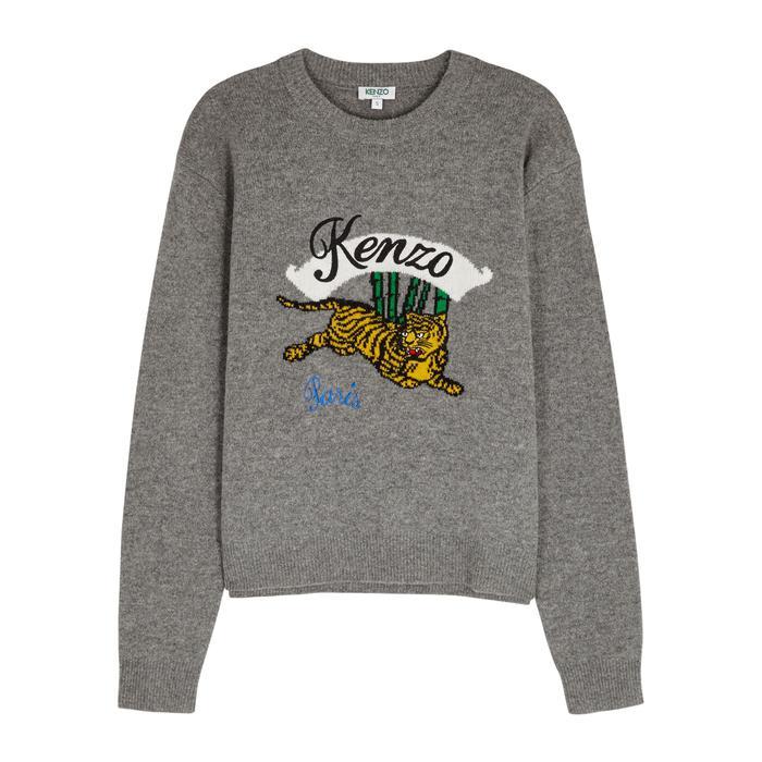 d947bbbc KENZO - Gray Bamboo Tiger Grey Wool Jumper - Lyst. View fullscreen