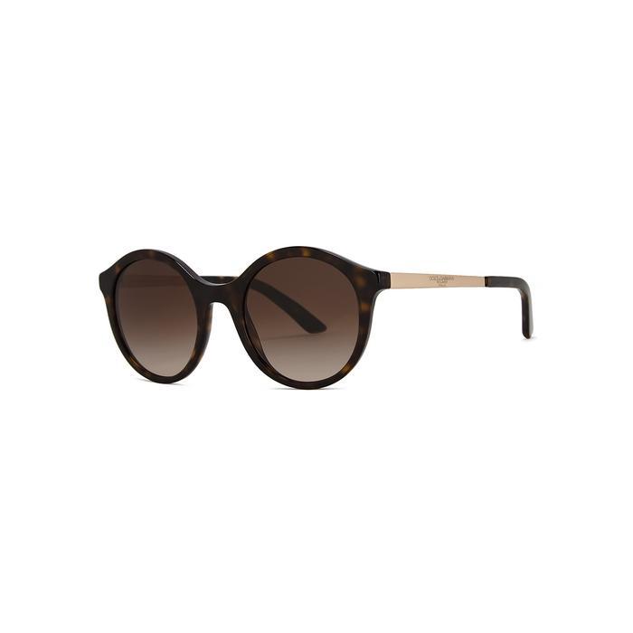 b5290decb7d Dolce   Gabbana Tortoiseshell Round-frame Sunglasses in Brown - Lyst