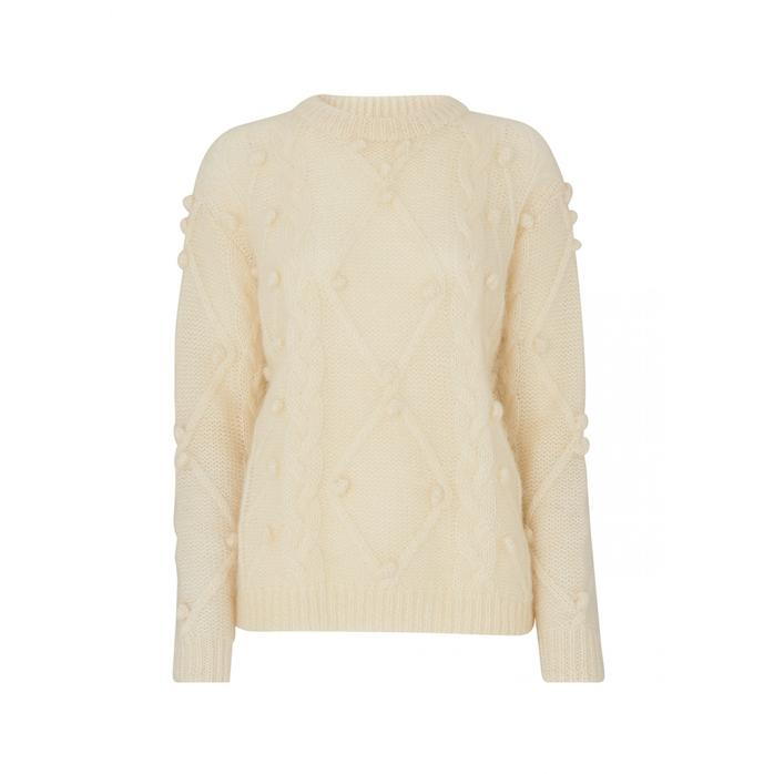 d39a3e544705 Kitri Leith White Mohair Cable Jumper in White - Lyst