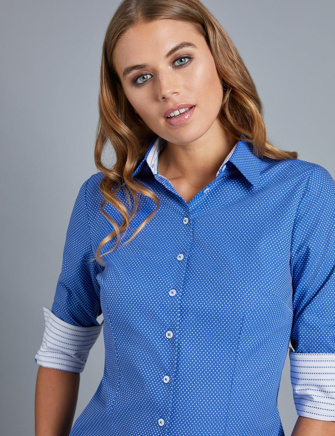 474013d2 Lyst - Hawes & Curtis Blue & White Dobby Fitted Shirt in Blue