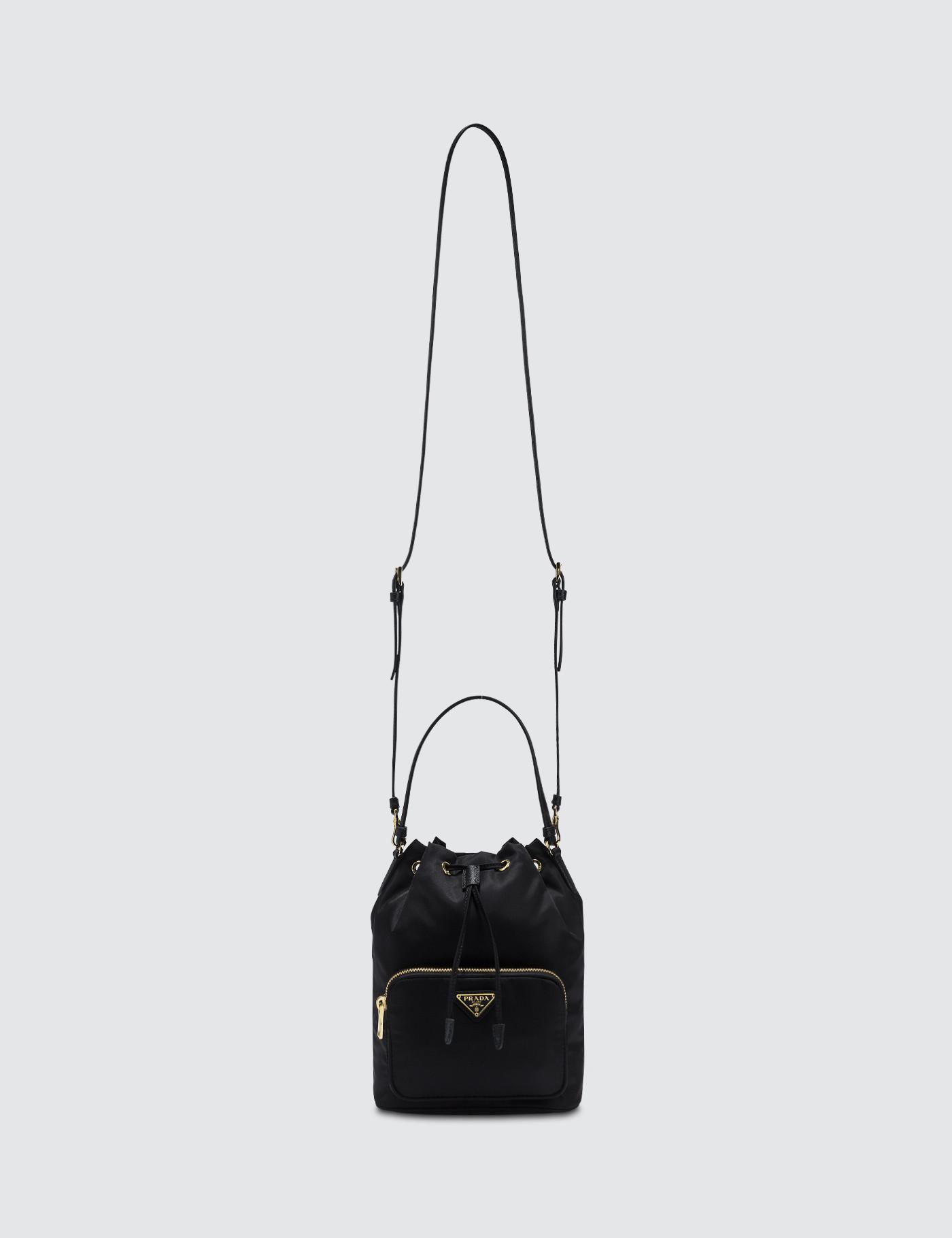 46cea824a7 Prada Bandoliera Leather Bag in Black - Lyst