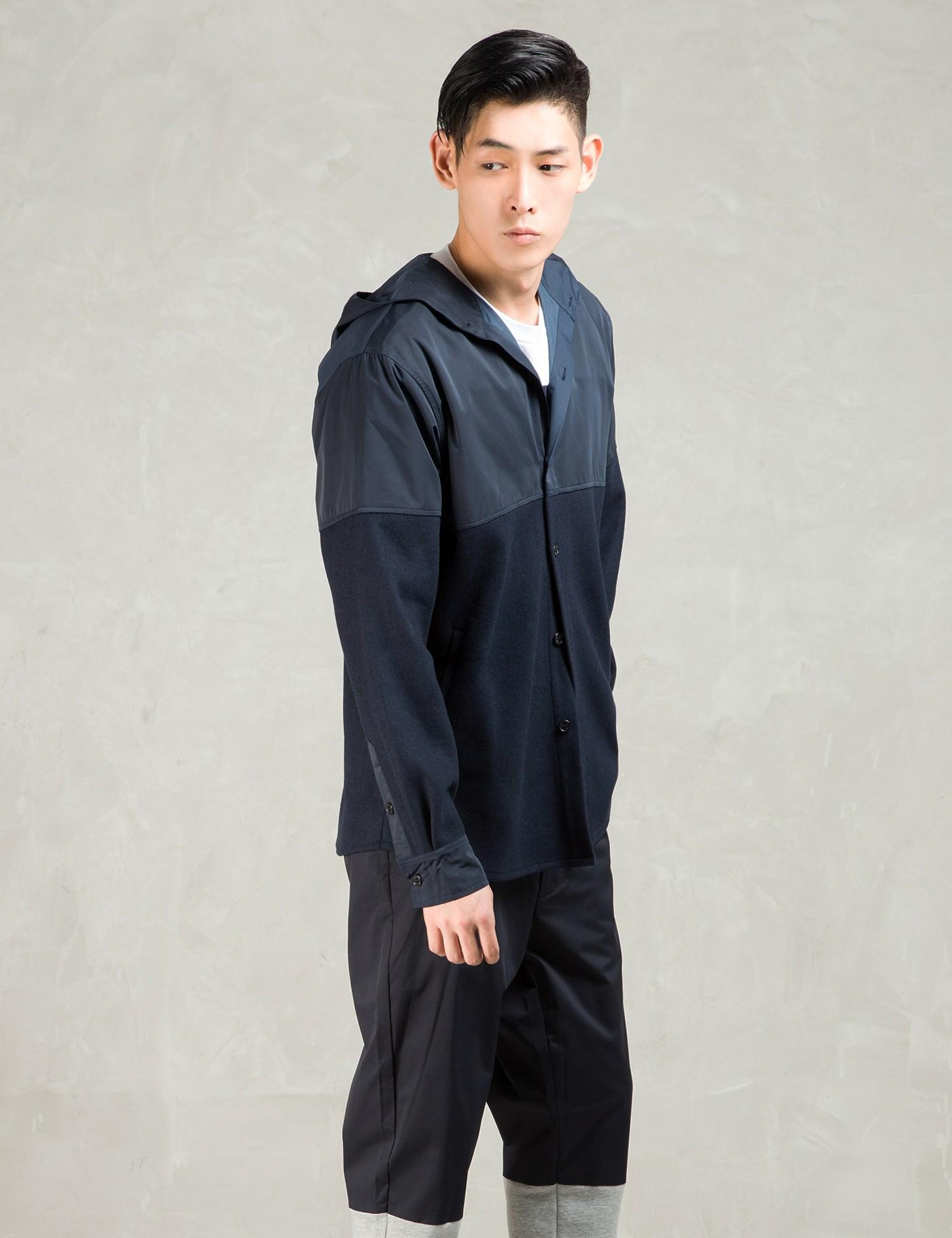 Still Good Navy Wool Nylon Hooded Shirt Jacket in Blue for Men