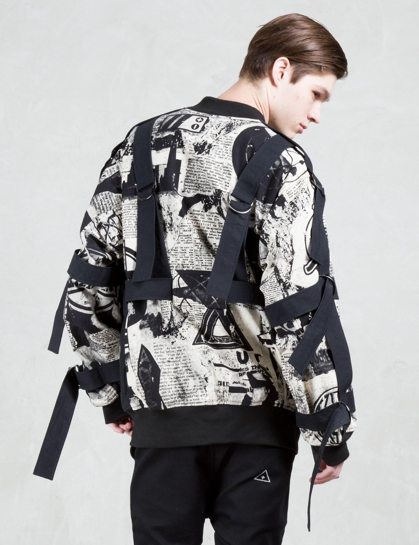 KTZ Cotton Newspaper Print Bomber Jacket W/ Bondage Detail for Men