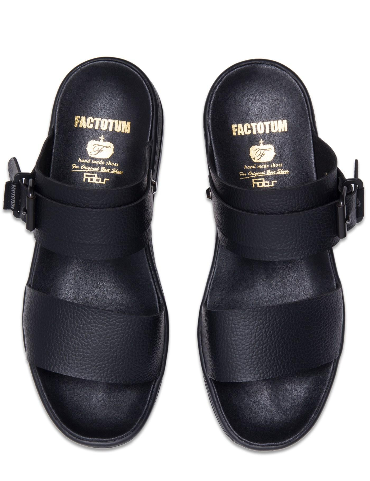 Factotum Black Two Way Sandals With Vibram Sole for men