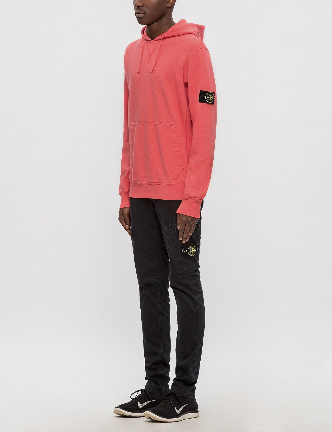 Stone Island Cotton Hoodie in Pink for Men
