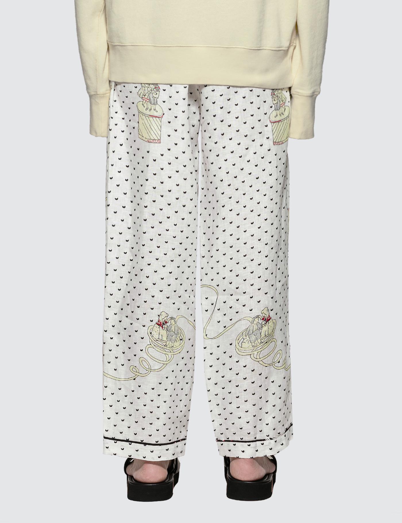 Loewe Linen Plumetis Pyjama Trousers in Black/White/Scarlet (White) for Men