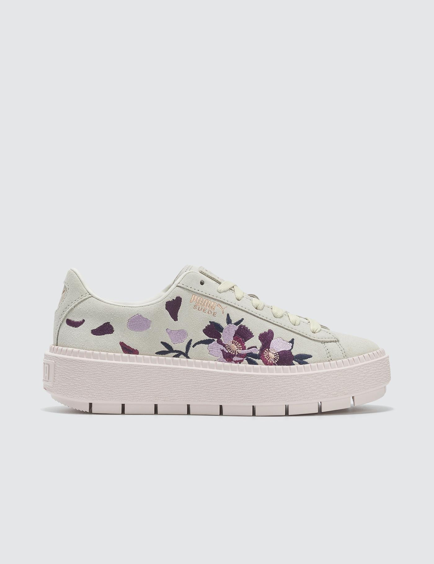 new product 99c8f bb658 Women's White Suede Platform Trace Flowery