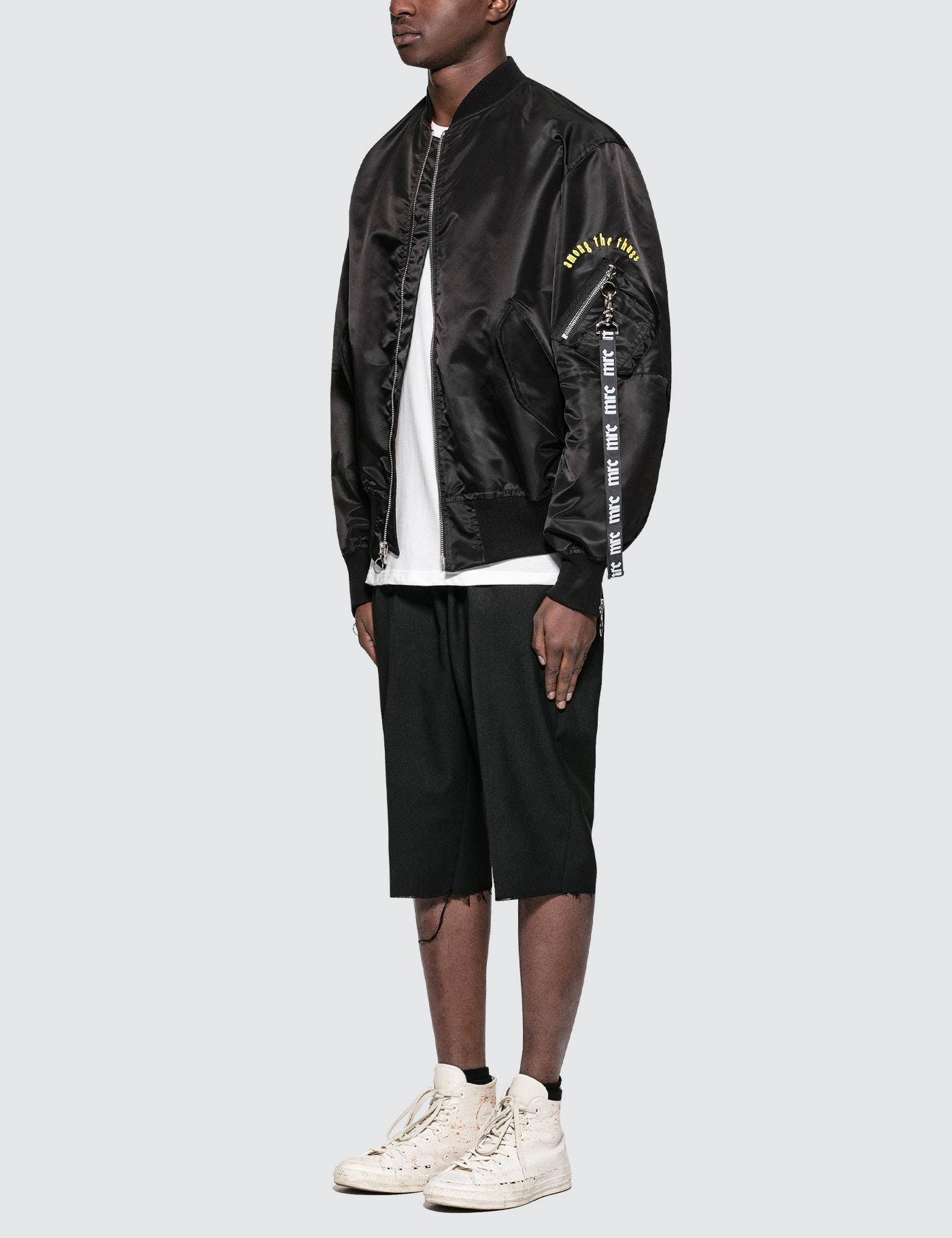 MR. COMPLETELY Cotton Anger Bomber Jacket in Black for Men