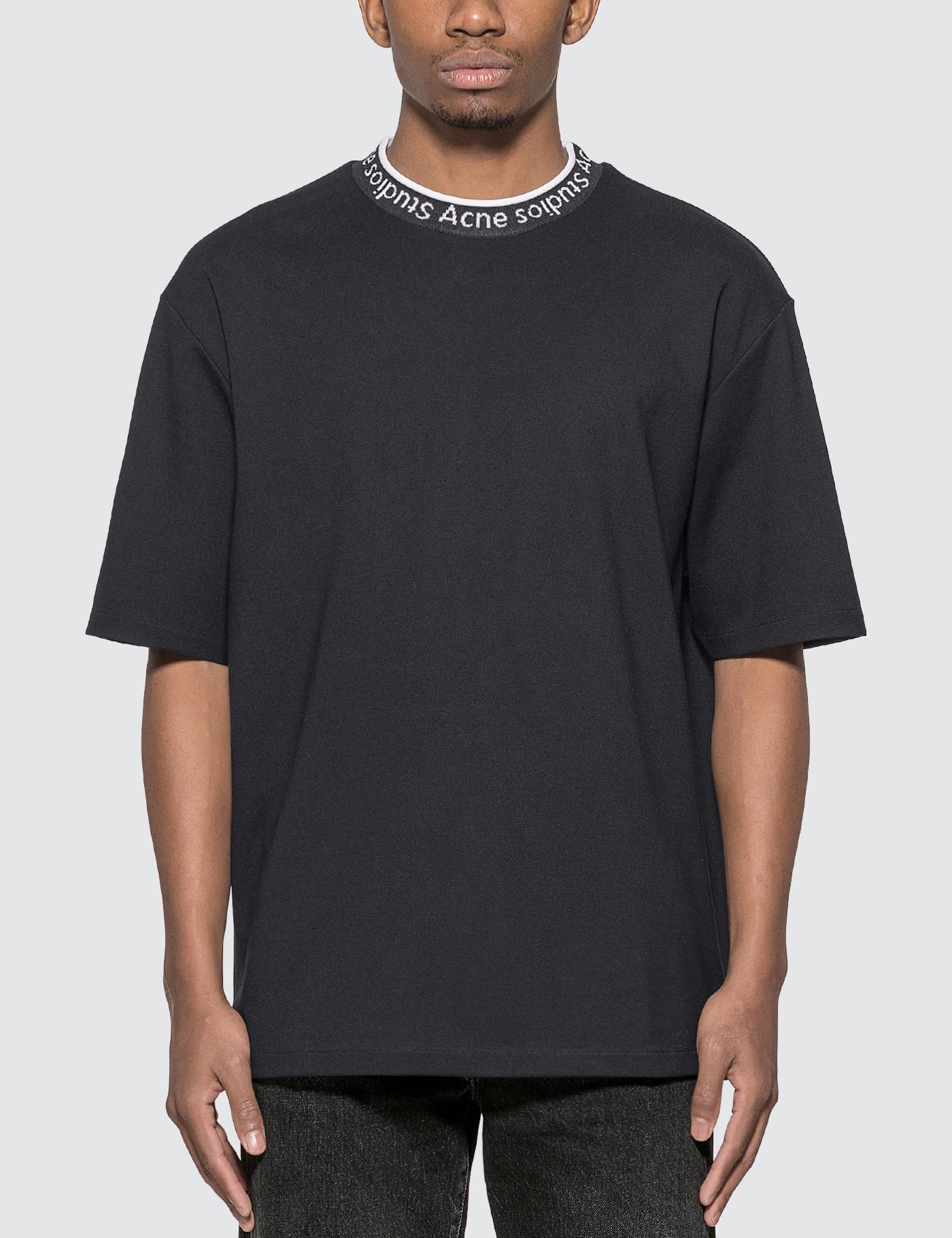 Acne Studios Synthetic Logo Neck T-shirt in Black for Men
