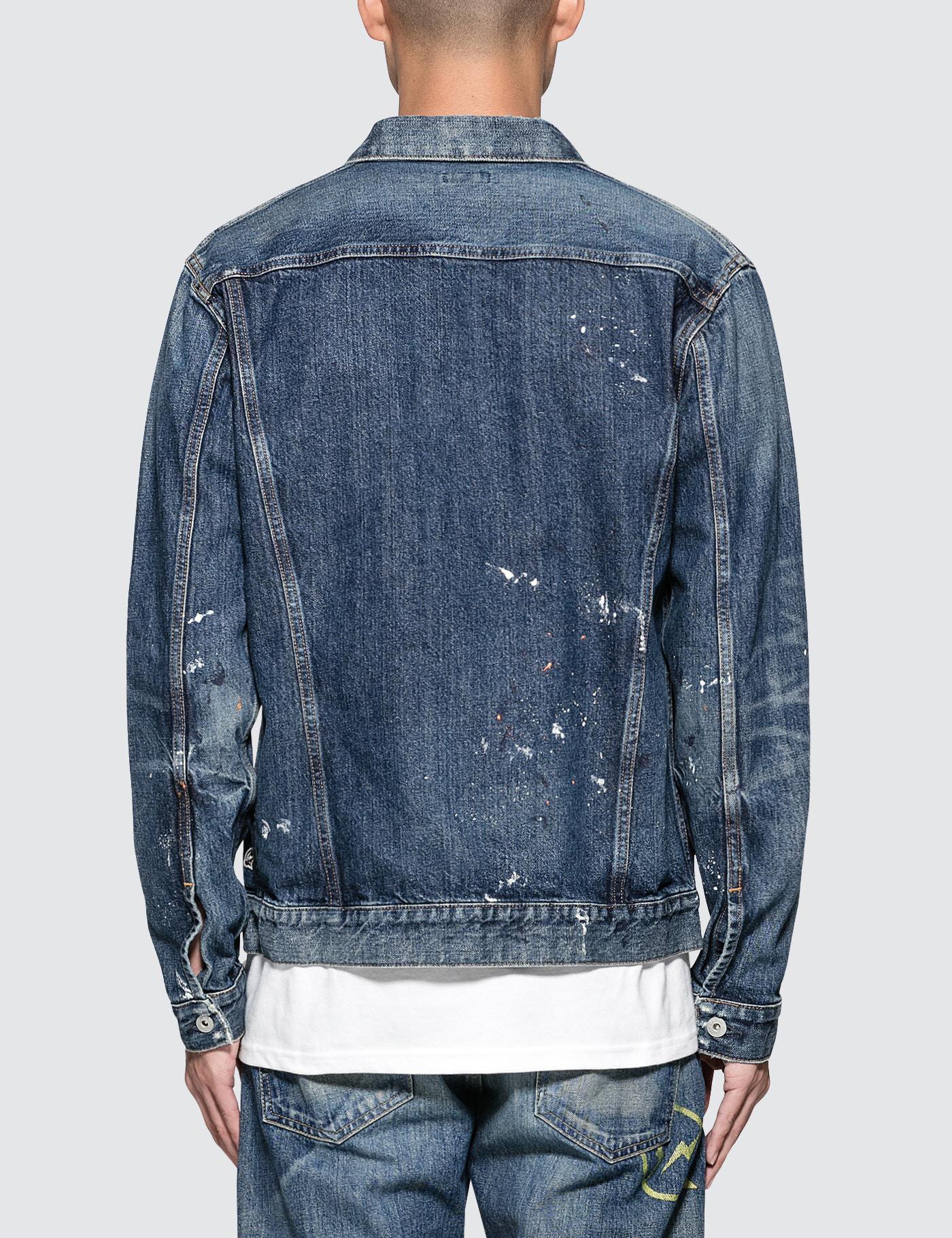 Denim by Vanquish & Fragment Paint Denim Jacket in Washed Indigo (Blue) for Men