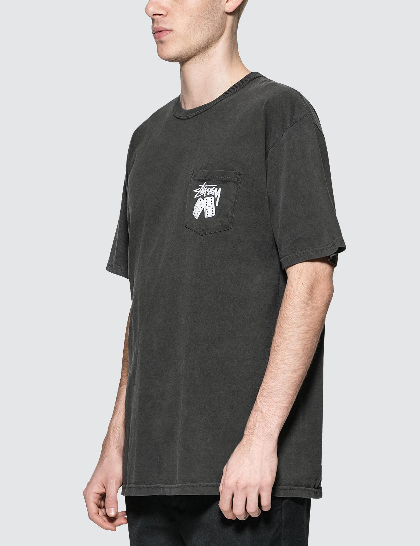 e474bff6 Stussy Dominos Pigment Dyed Pocket T-shirt in Black for Men - Lyst