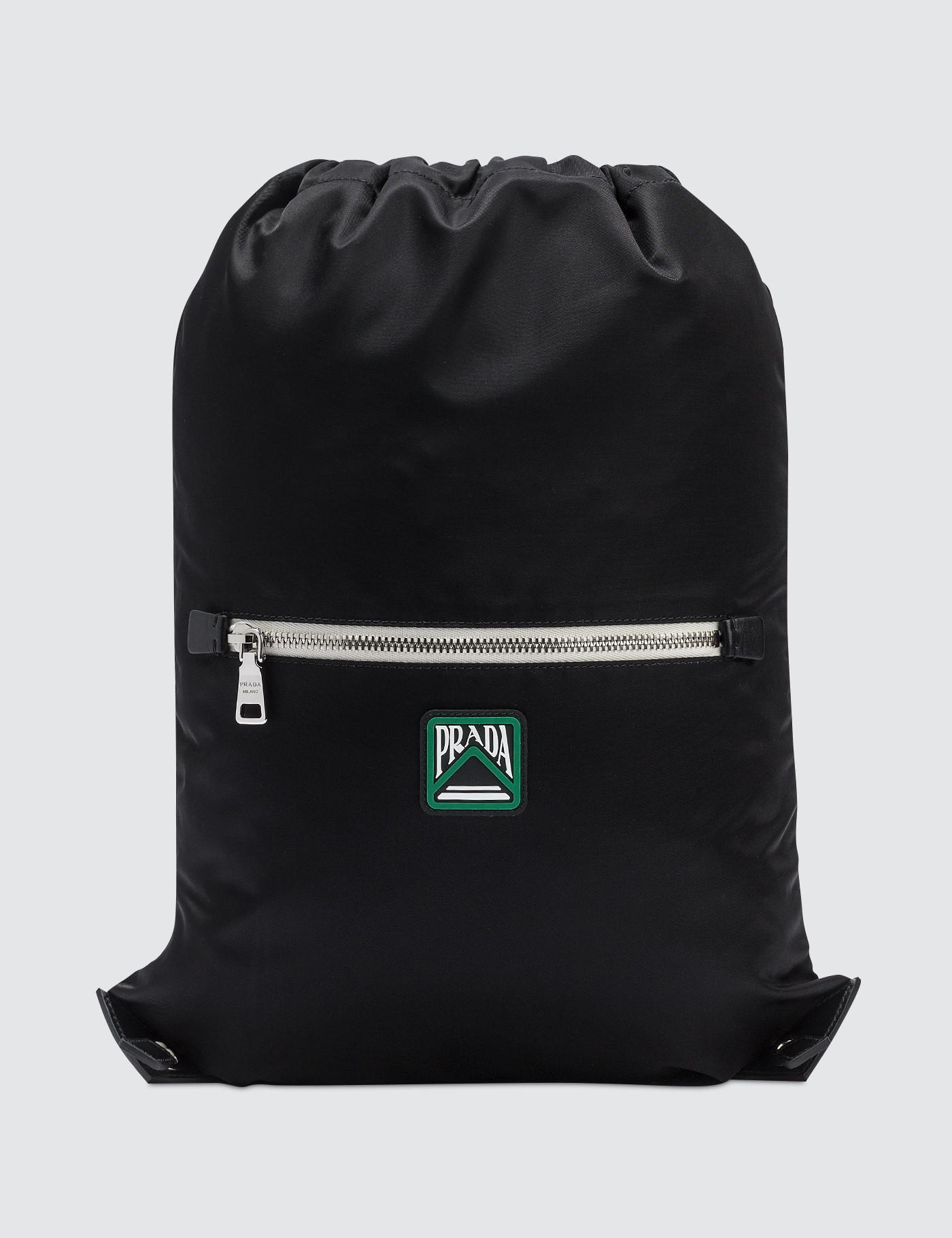 0126e75d7540 Prada - Black Nylon Logo Drawstring Backpack for Men - Lyst. View fullscreen