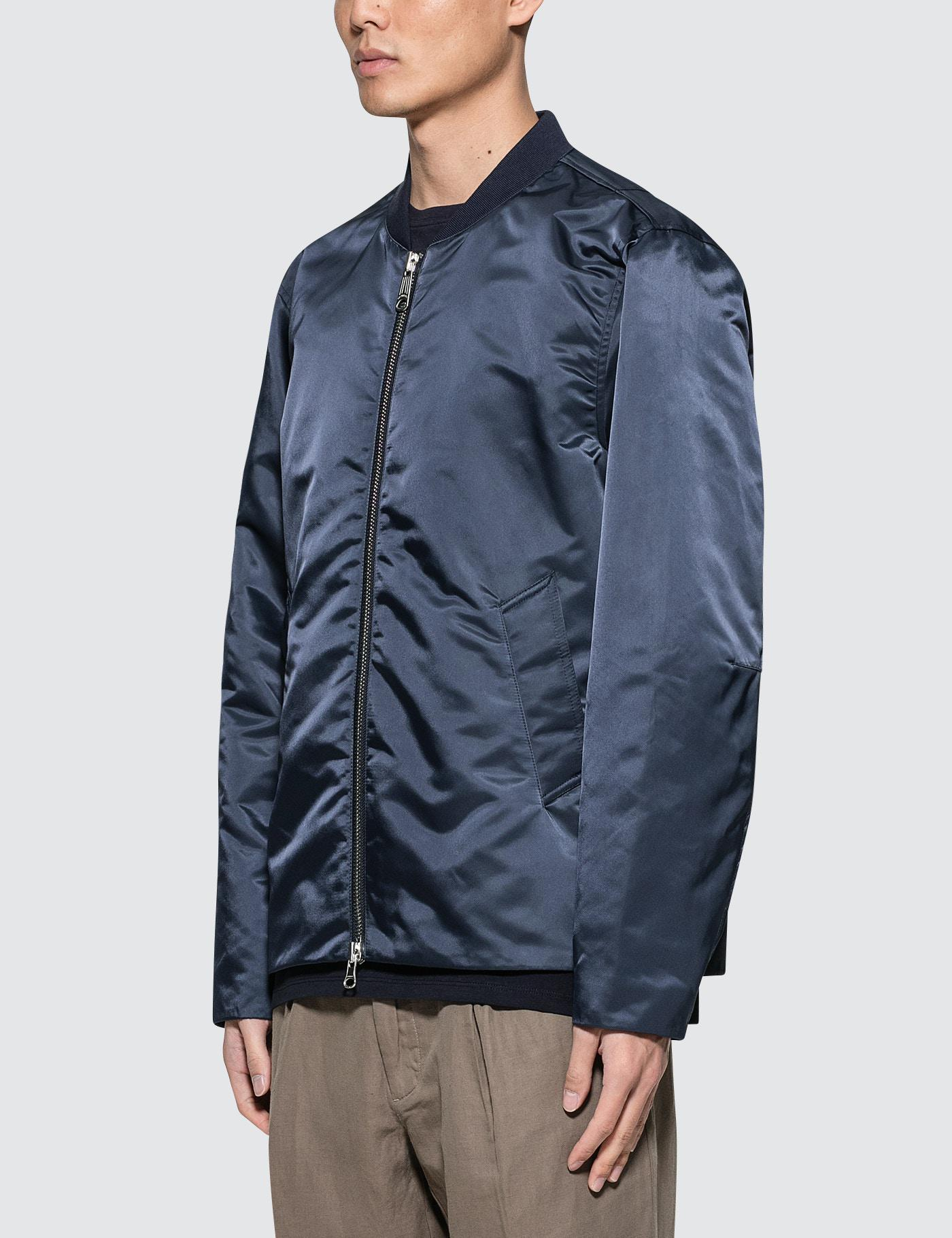 Saturdays NYC Julian Satin Jacket in Midnight (Blue) for Men