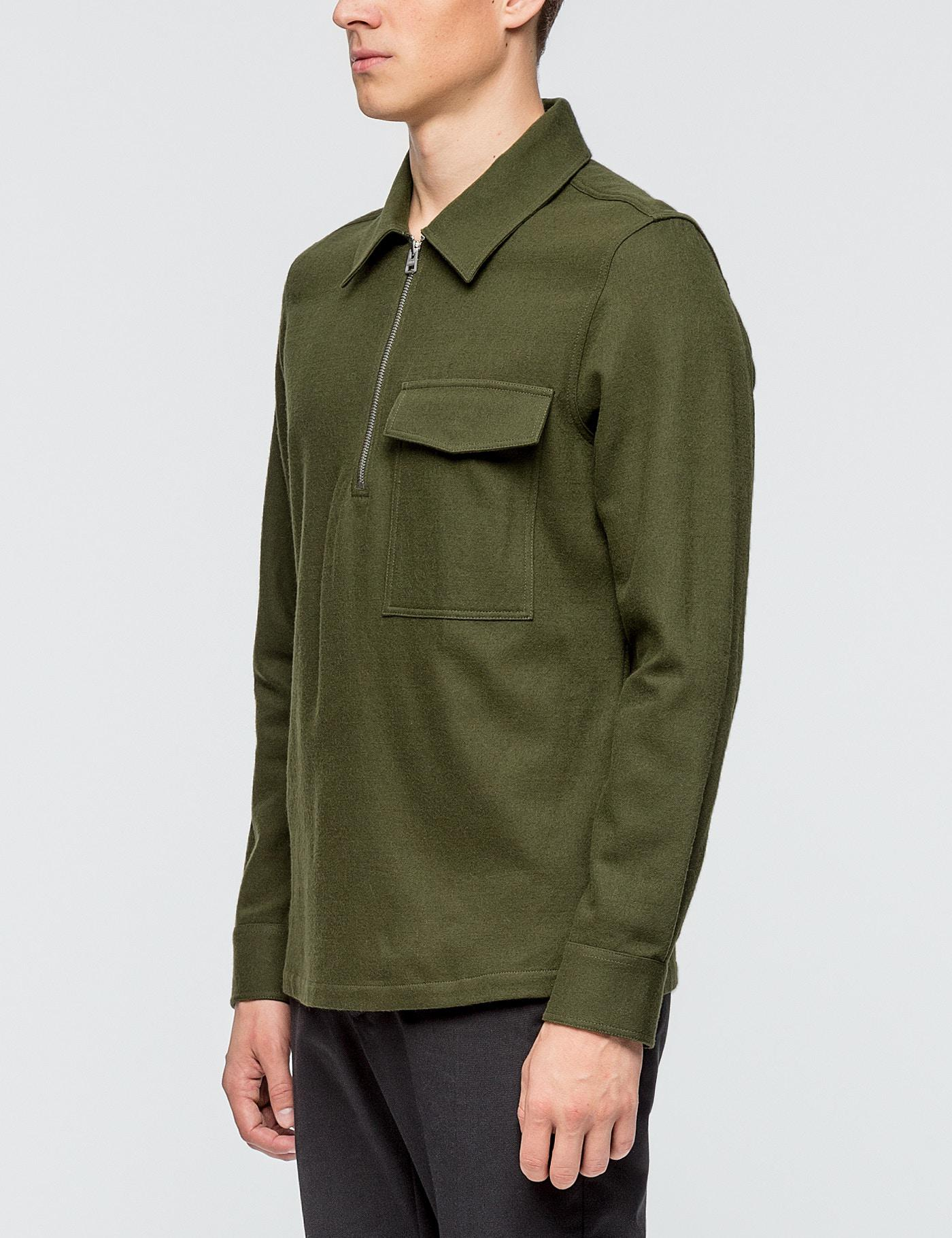 Lyst ami wide fit zipped collar shirt in green for men for Mens wide collar dress shirts