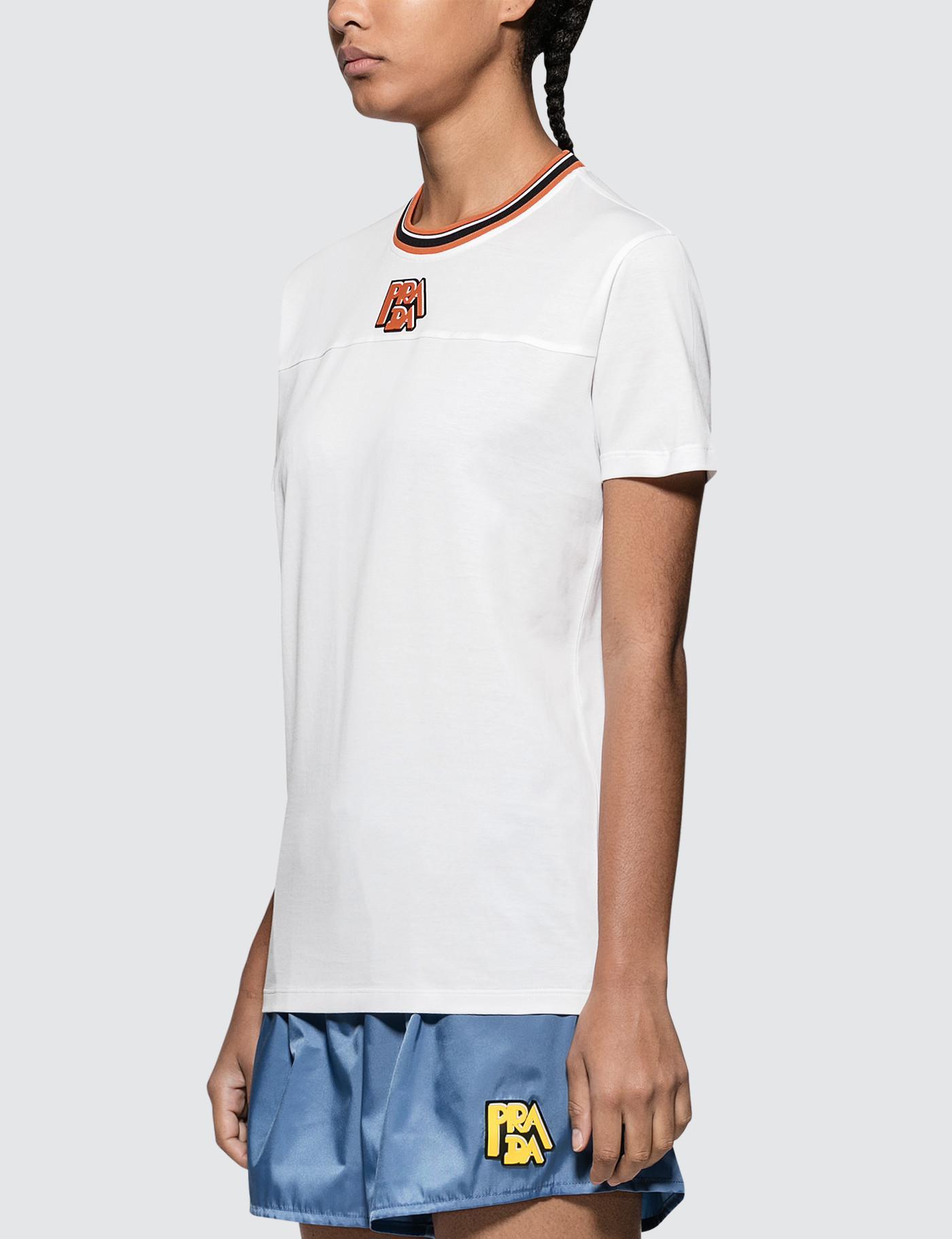 54c4ae147885 Lyst - Prada Logo Short Sleeve T-shirt in White