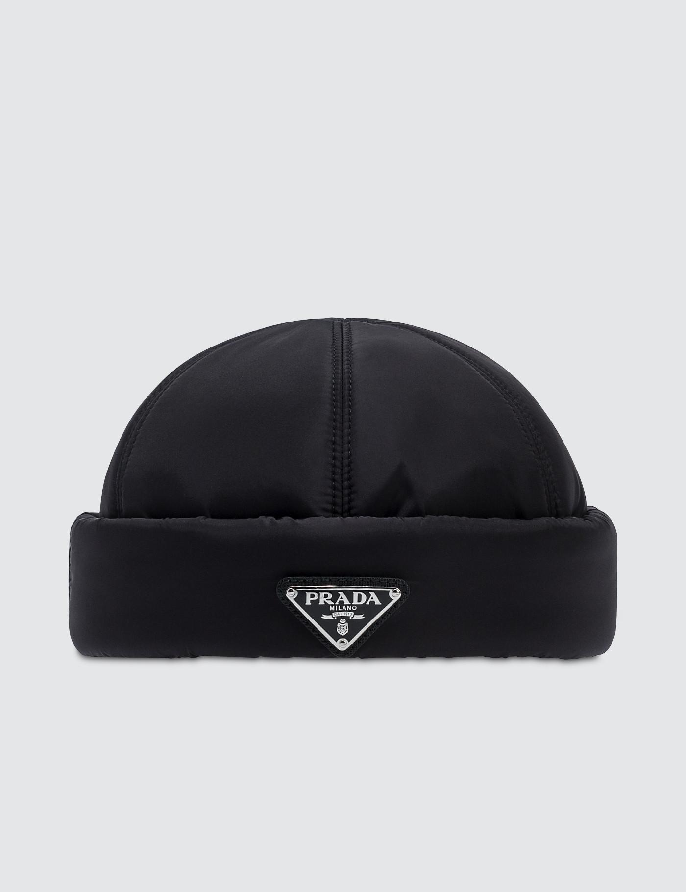 705dd6ad4d3 Prada - Black Padded Nylon Beanie Hat for Men - Lyst. View fullscreen