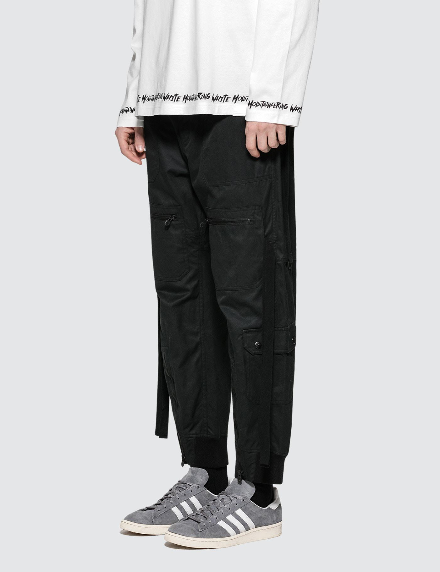 White Mountaineering Cotton Wide Flight Pants in Black for Men