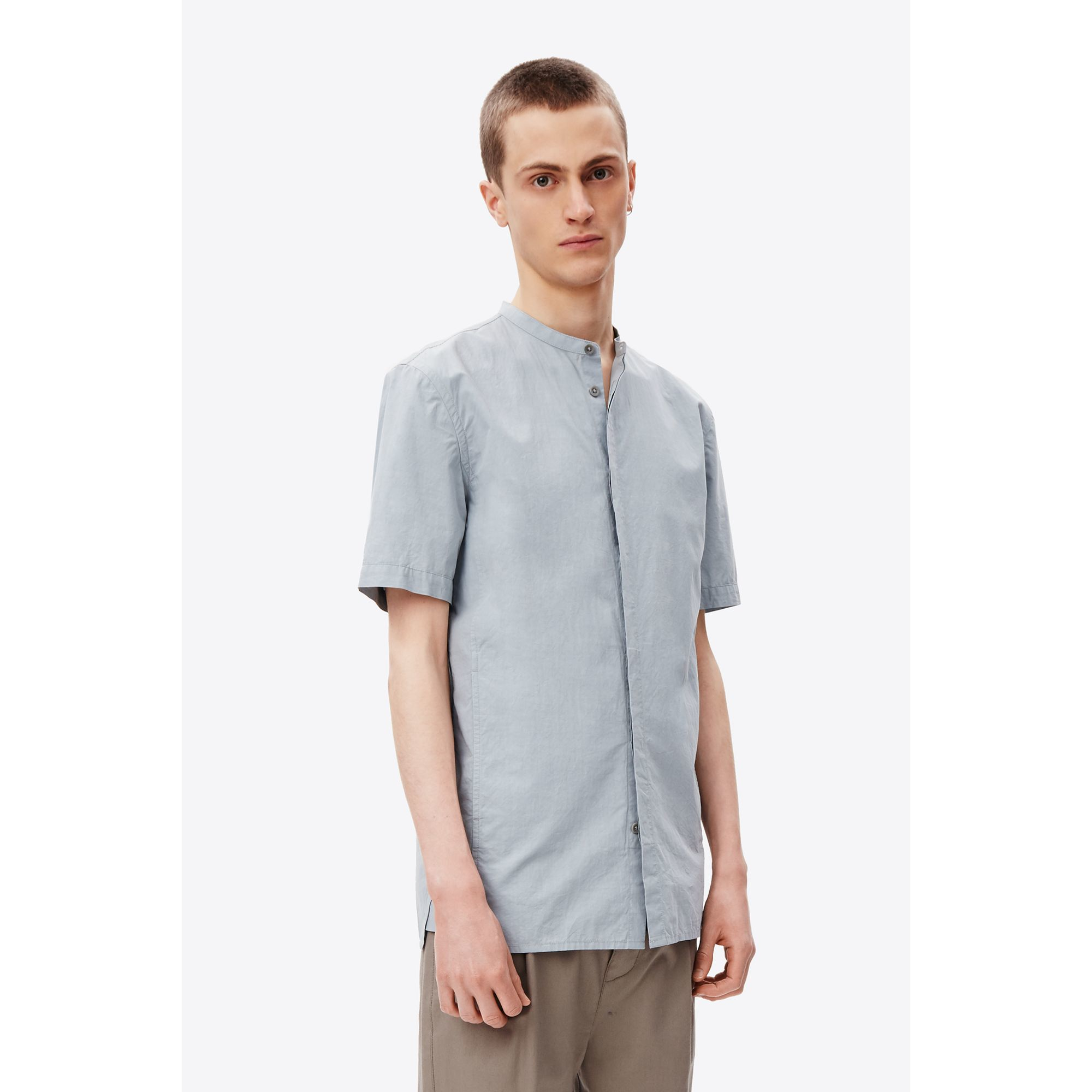 Helmut lang mandarin collar shirt for men lyst for Chinese collar shirts for men