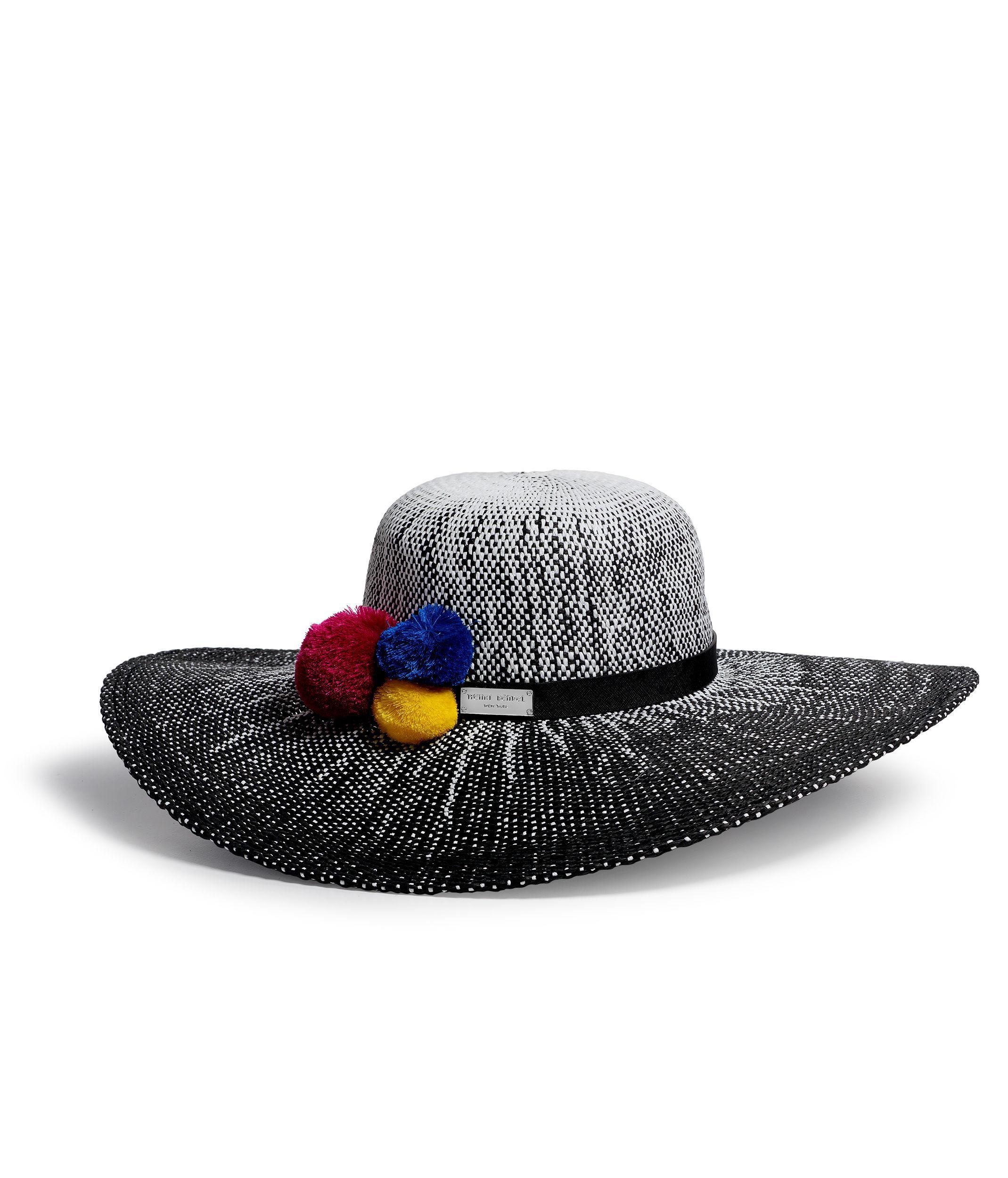 Lyst - Henri Bendel Lima Straw Hat in Black cd2224c4636