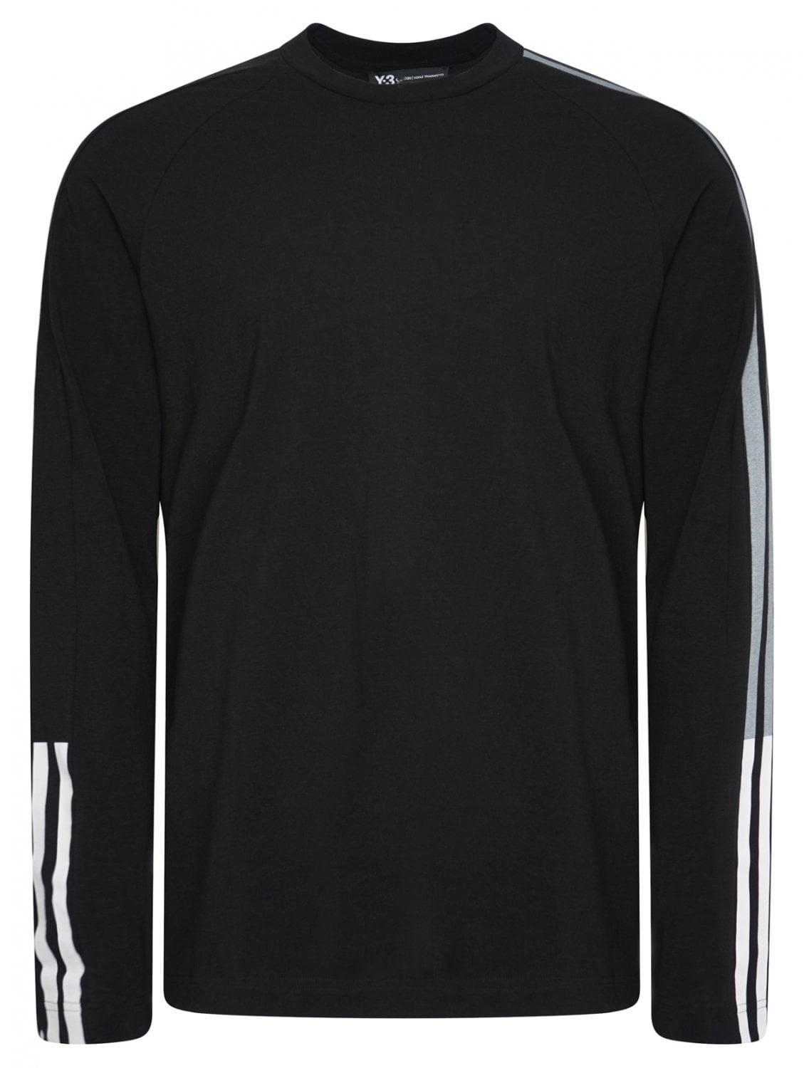 8be4f69e6311e Y-3 Raglan 3-stripe L s Tee Black in Black for Men - Lyst