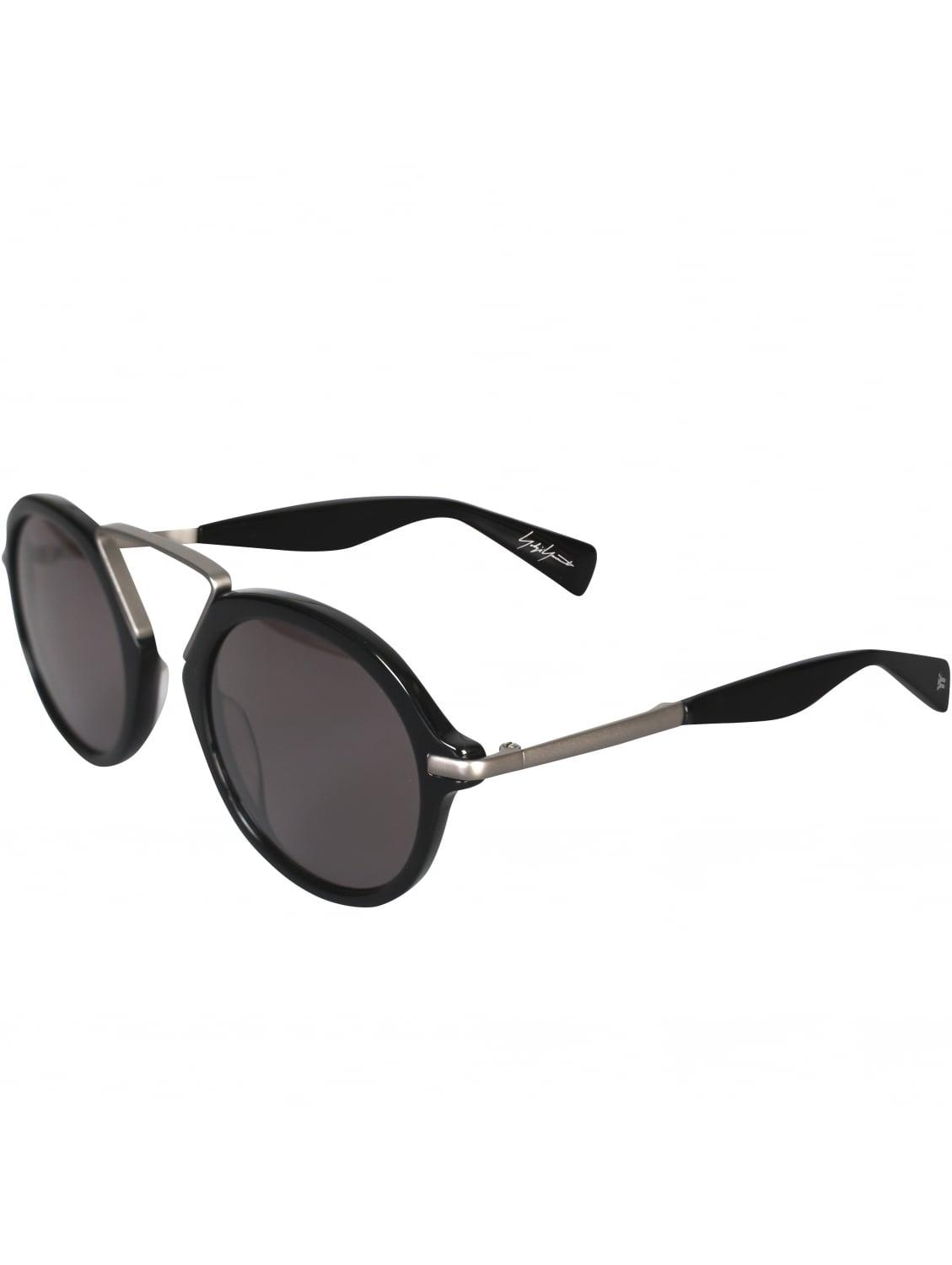 Yohji Yamamoto Leather Squared Frame Sunglasses With Lids Black/grey for Men