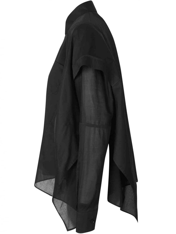 Lyst maison margiela black button down oxford shirt cape for Black oxford button down shirt