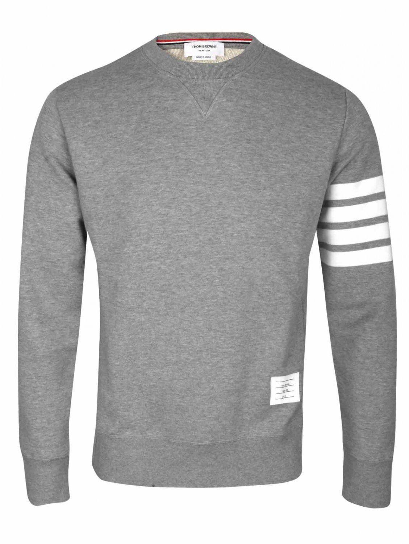 Thom Browne - Gray Grey Crew Neck Sweatshirt With Iconic Stripe Armband for  Men - Lyst. View fullscreen