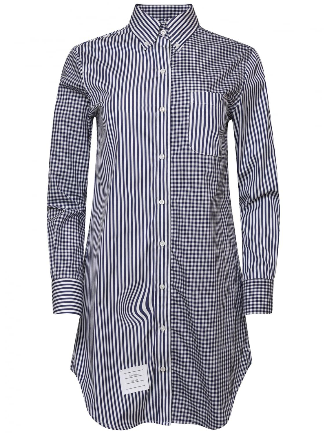 Lyst thom browne funmix l s shirt dress navy in blue for Thom browne shirt sale