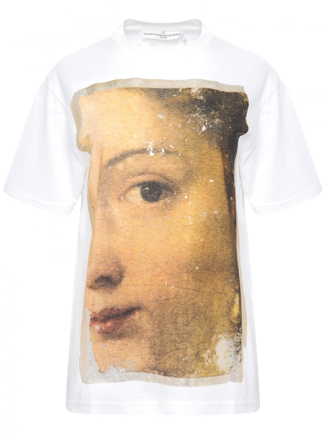 75e4a1ba2 Lyst - Golden Goose Deluxe Brand Cracked Painting Gold Trim T-shirt ...