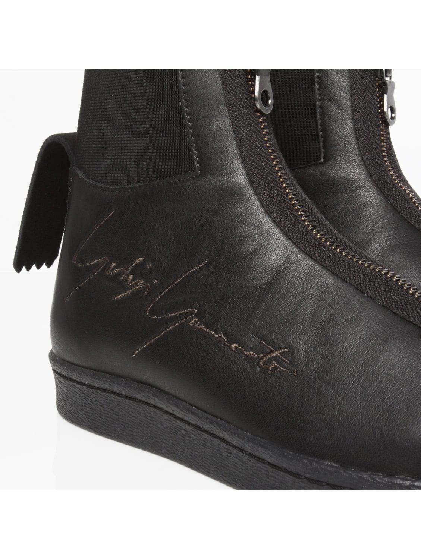 Yohji Yamamoto Leather Yy Logo Star Sneakers Black