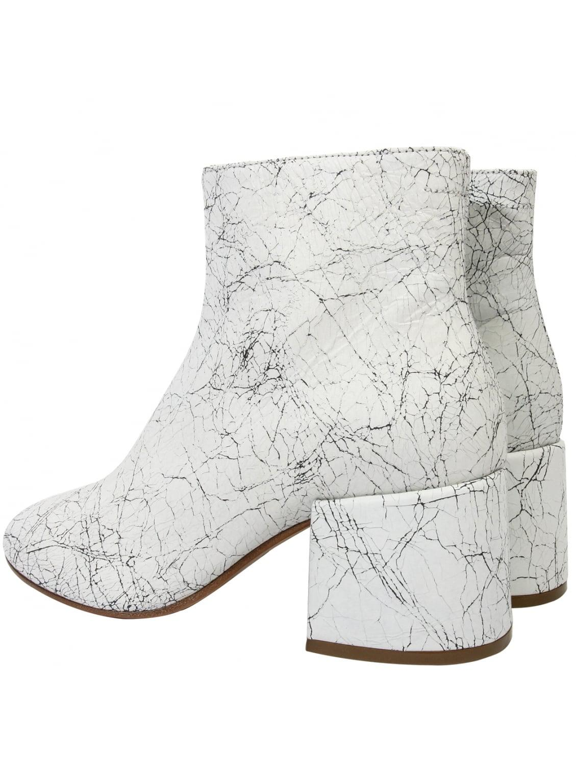 MM6 by Maison Martin Margiela Leather Crackle Block Heel Ankle Boot White