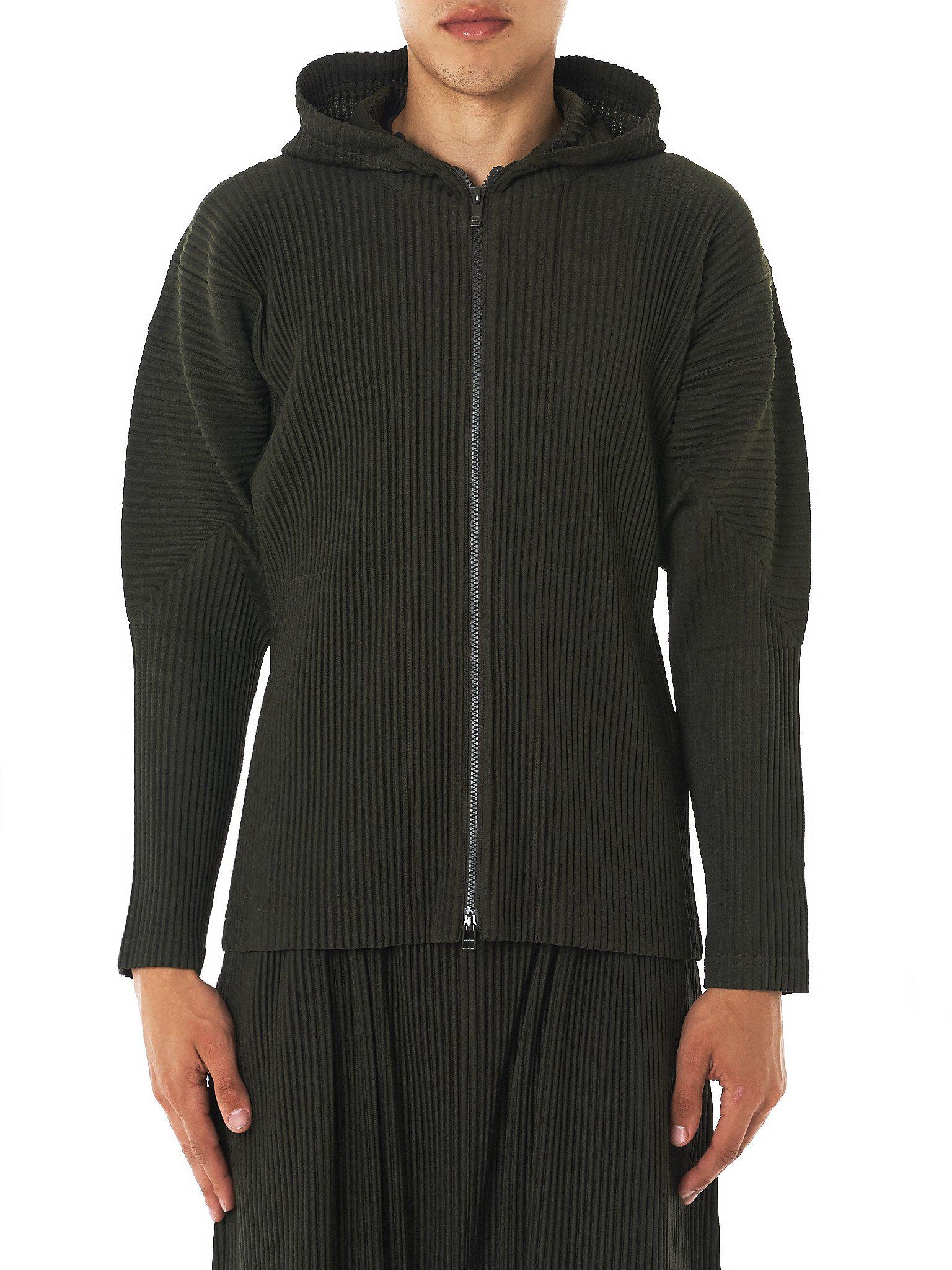 lyst homme pliss issey miyake pleated hooded sweater for men. Black Bedroom Furniture Sets. Home Design Ideas