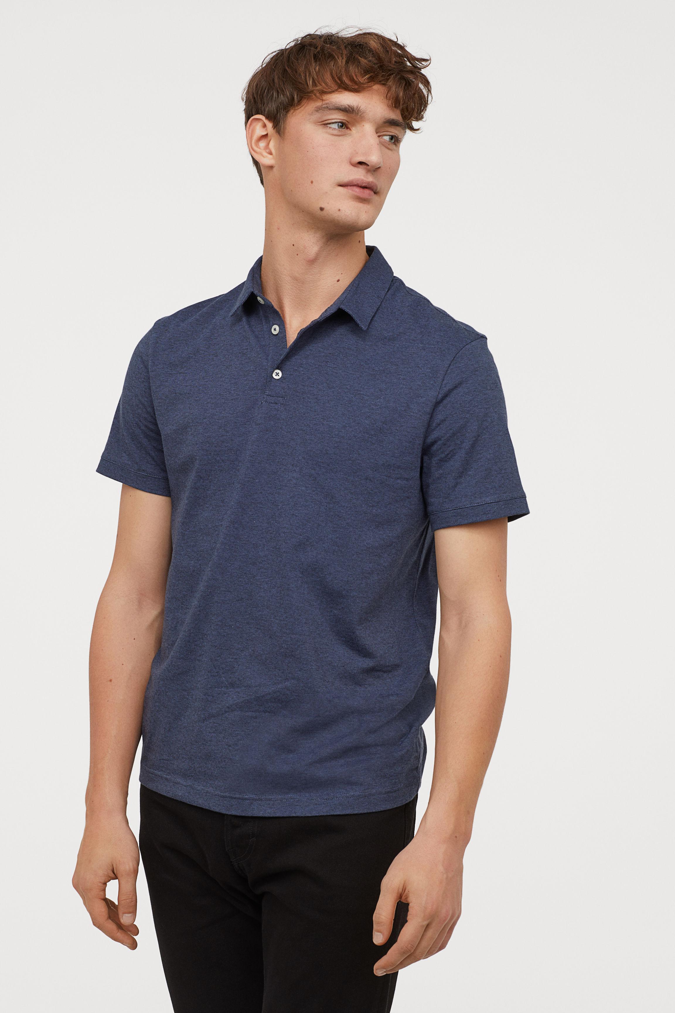 a00c4e301014c H M - Blue 2-pack Slim Fit Polo Shirts for Men - Lyst. View fullscreen