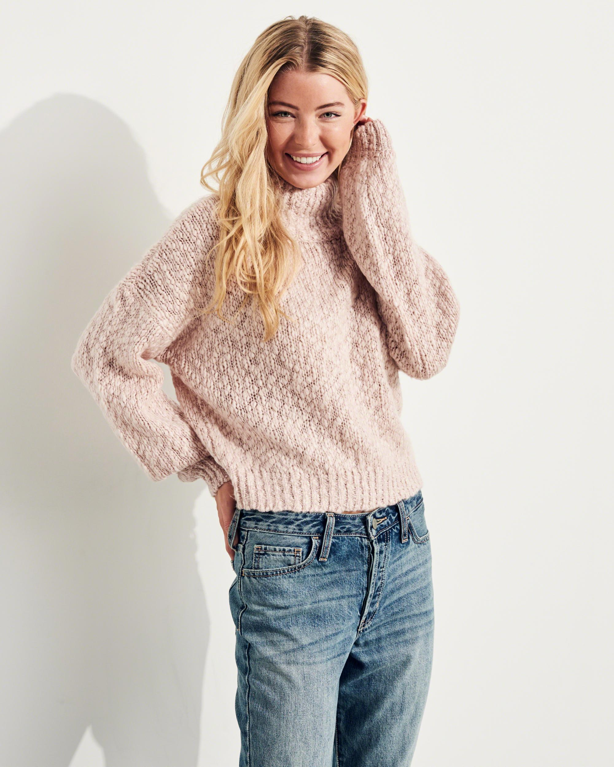 Hollister Shine Chunky Turtleneck Sweater in Pink - Save 62% | Lyst
