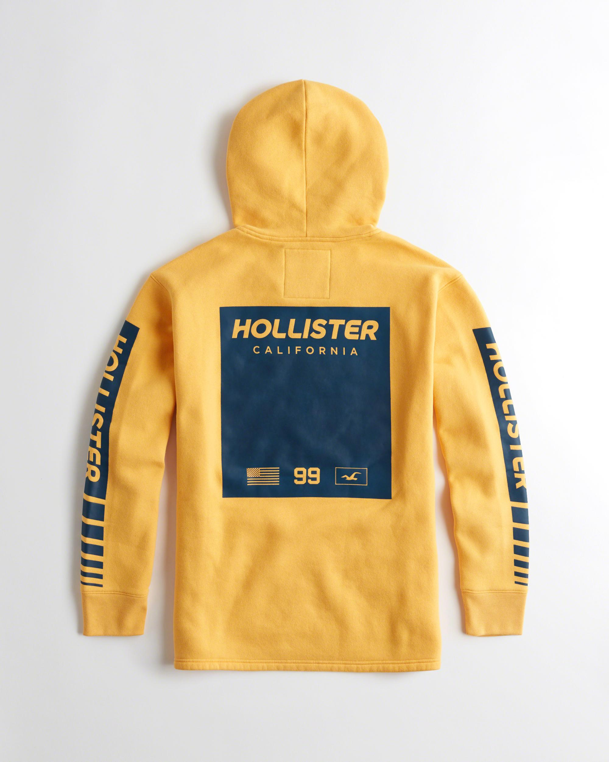lyst hollister logo graphic hoodie in yellow for men