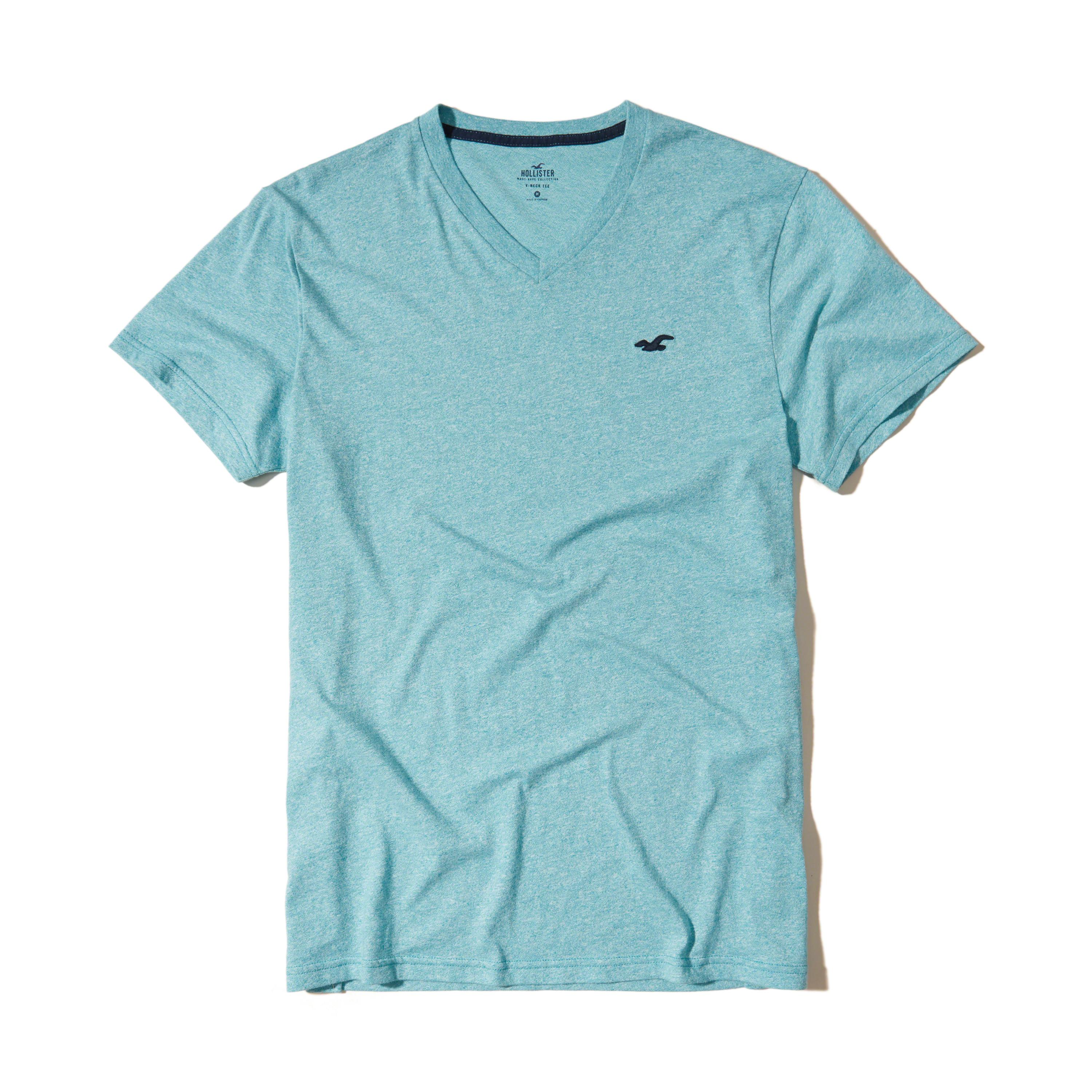 Hollister must have v neck t shirt in blue for men lyst for Must have dress shirts