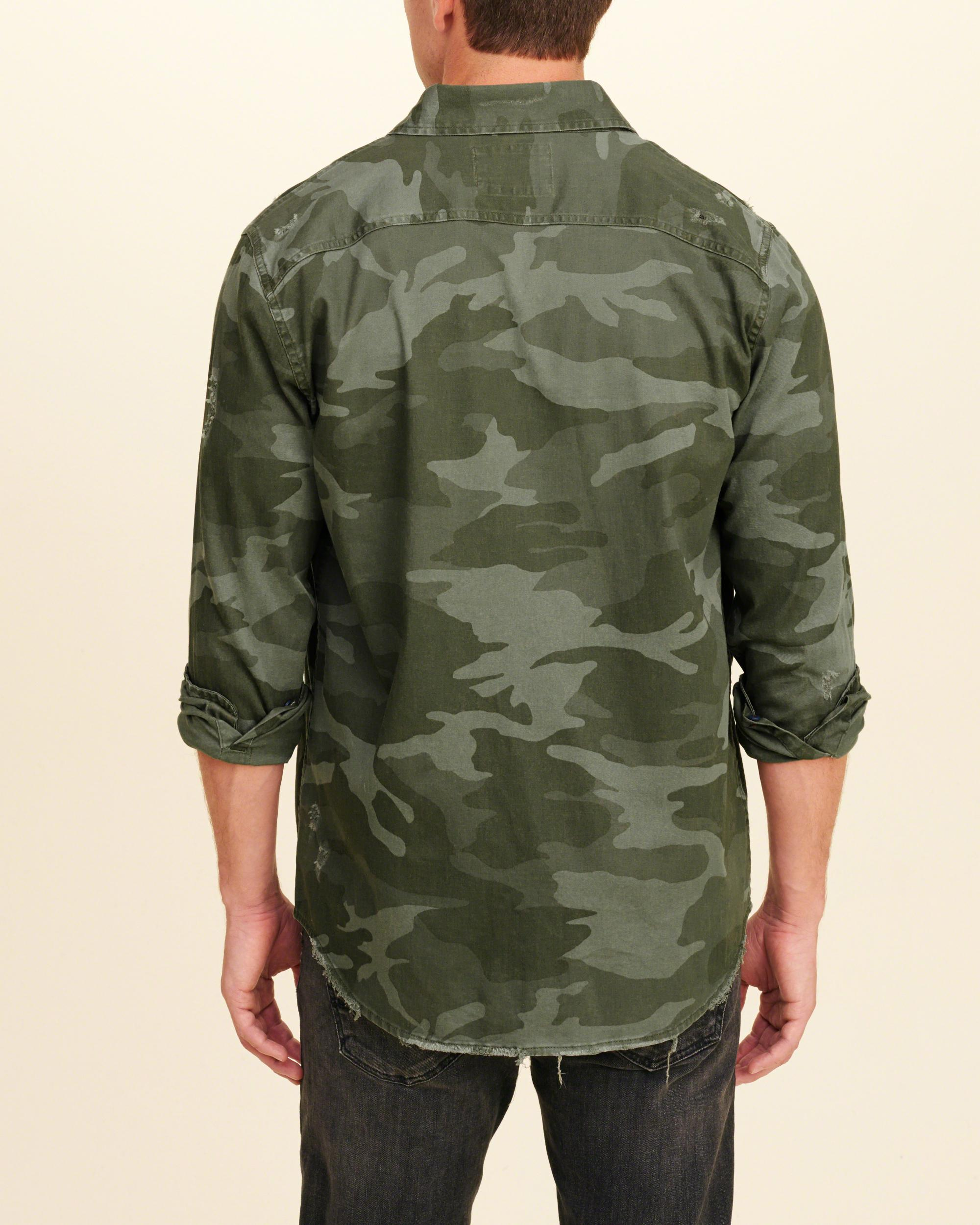Hollister Distressed Camo Twill Shirt In Green For Men