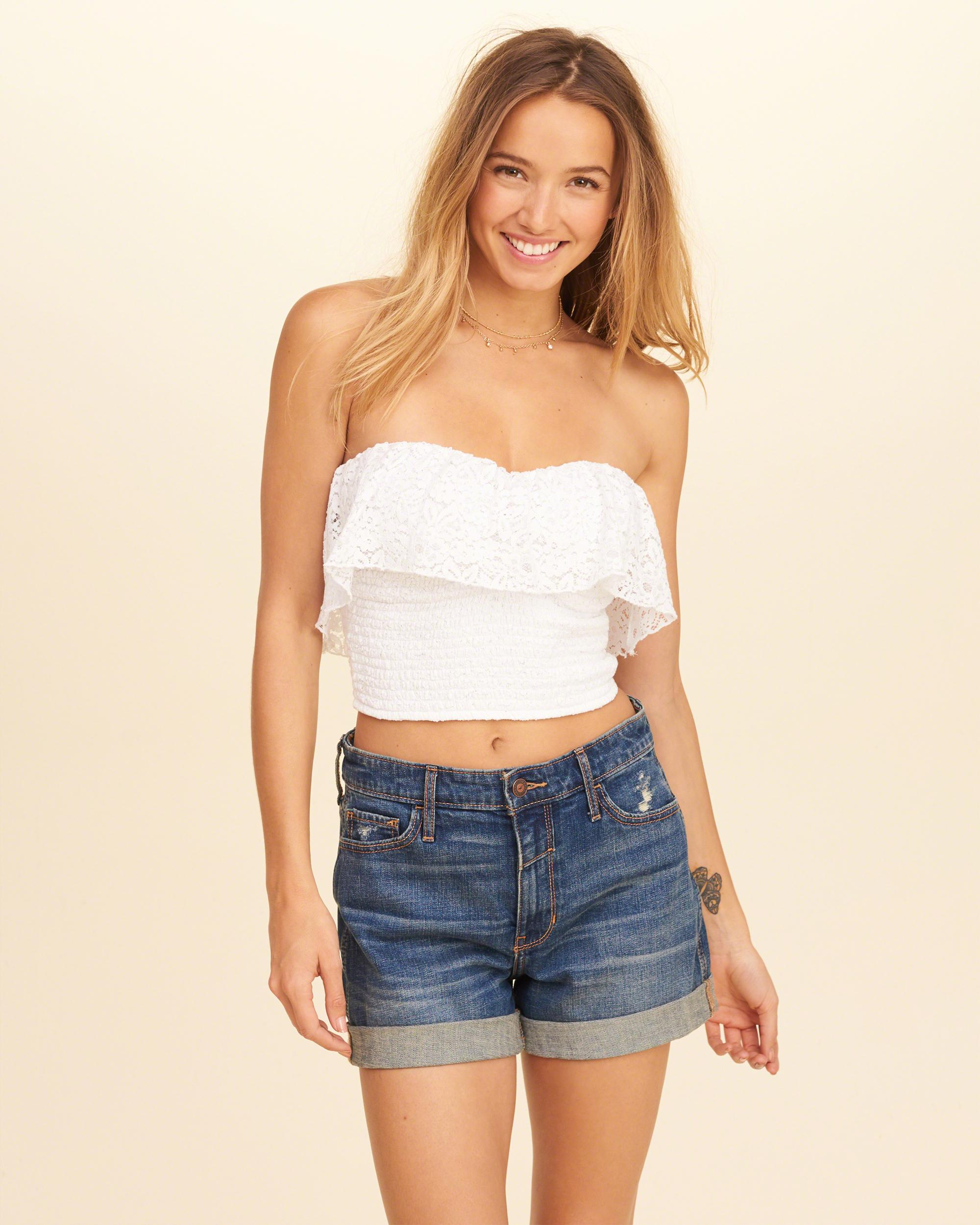 d80501b2b2 Hollister Smocked Ruffle Crop Tube Top in White - Lyst
