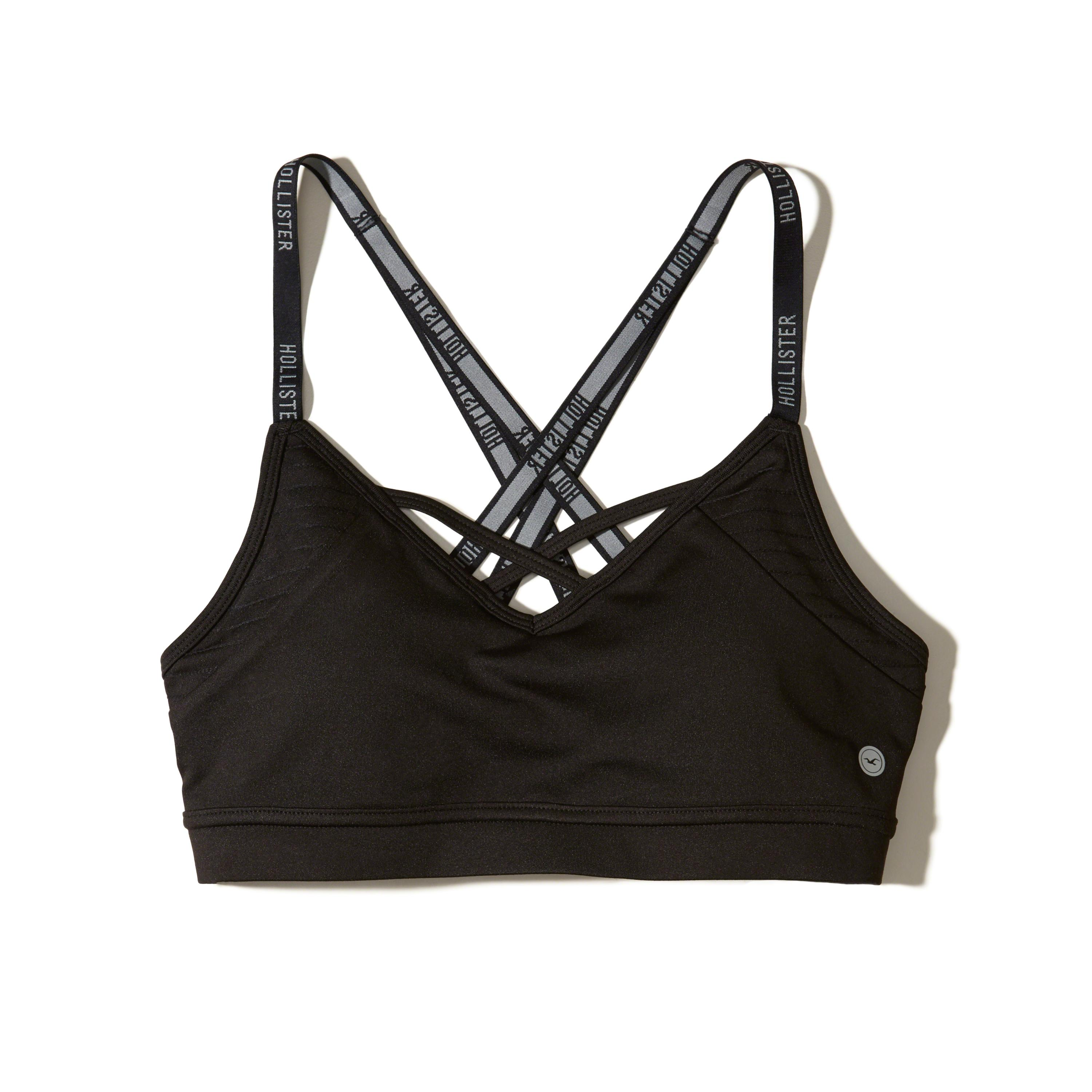 24b4631222b89 Lyst - Hollister Strappy Sports Bra in Black