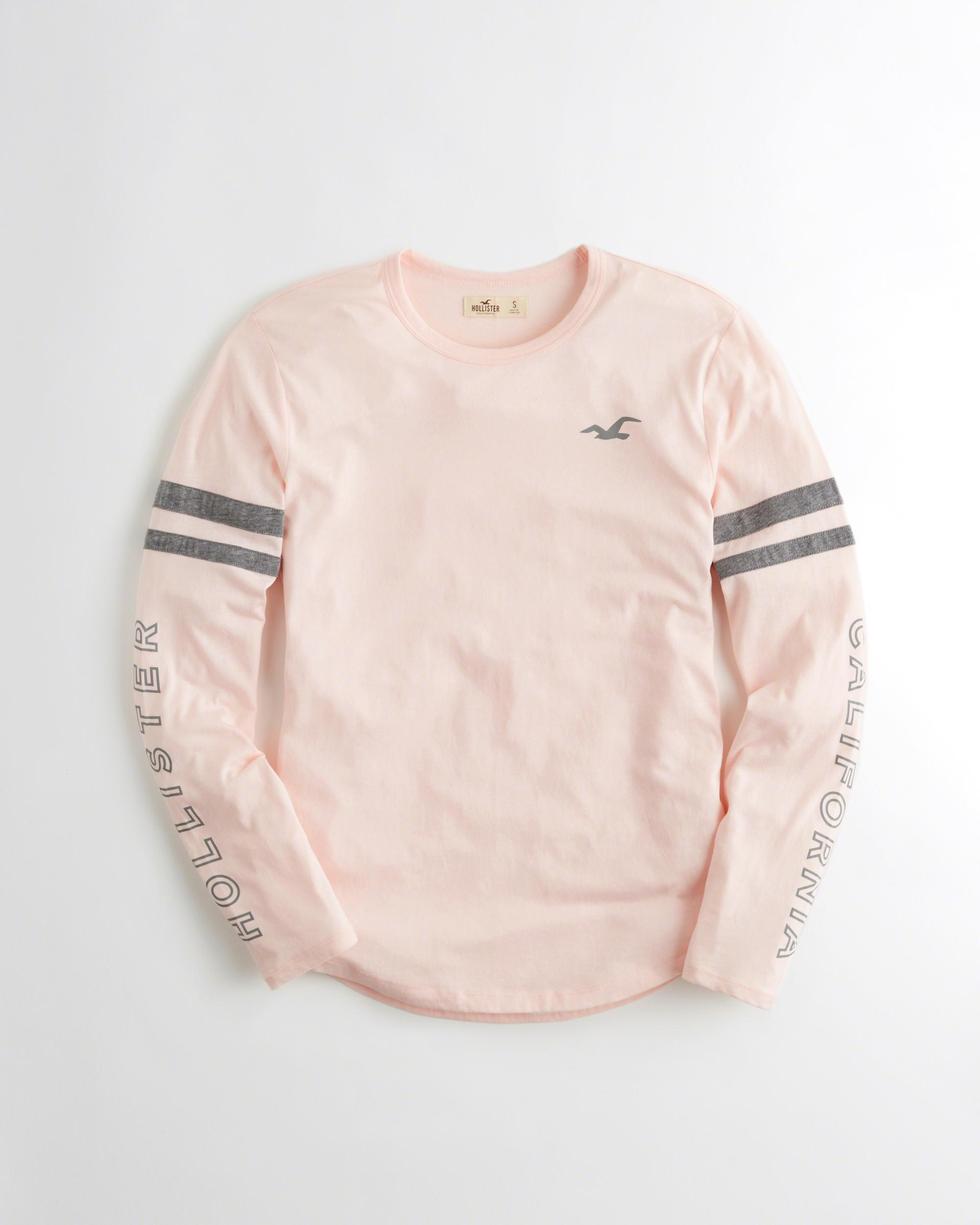 Lyst - Hollister Long-sleeve Graphic Tee in Pink b38f7540e04