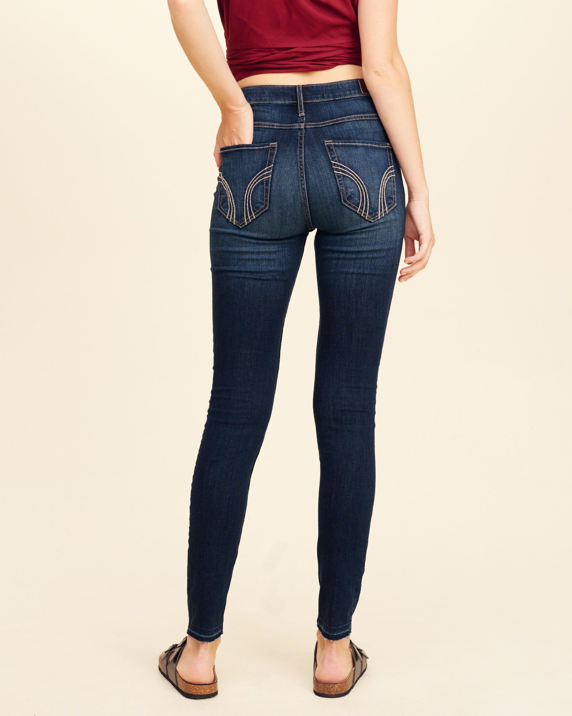 Lyst - Hollister High-rise Super Skinny Jeans in Blue