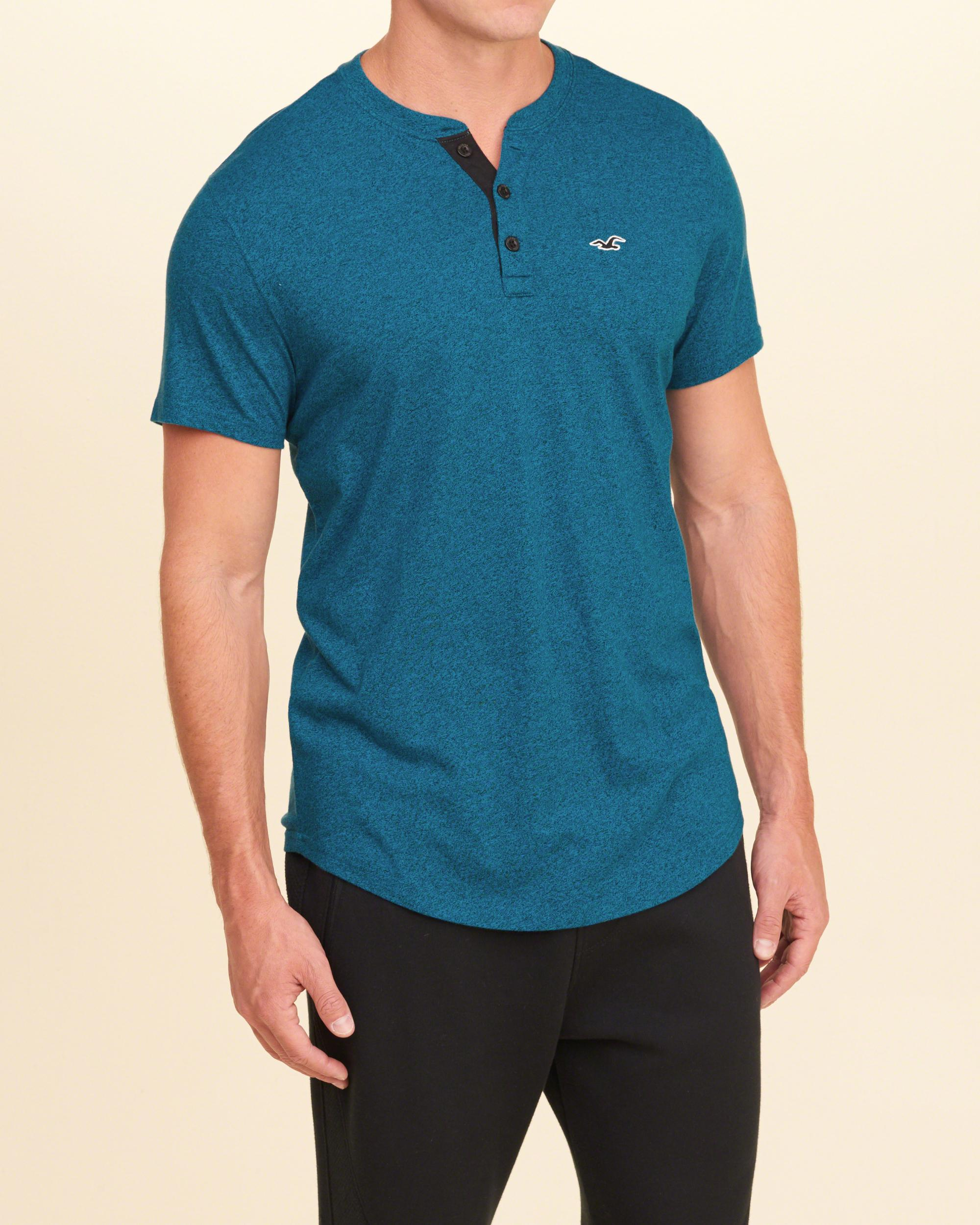 Hollister must have henley in blue for men lyst for Must have dress shirts