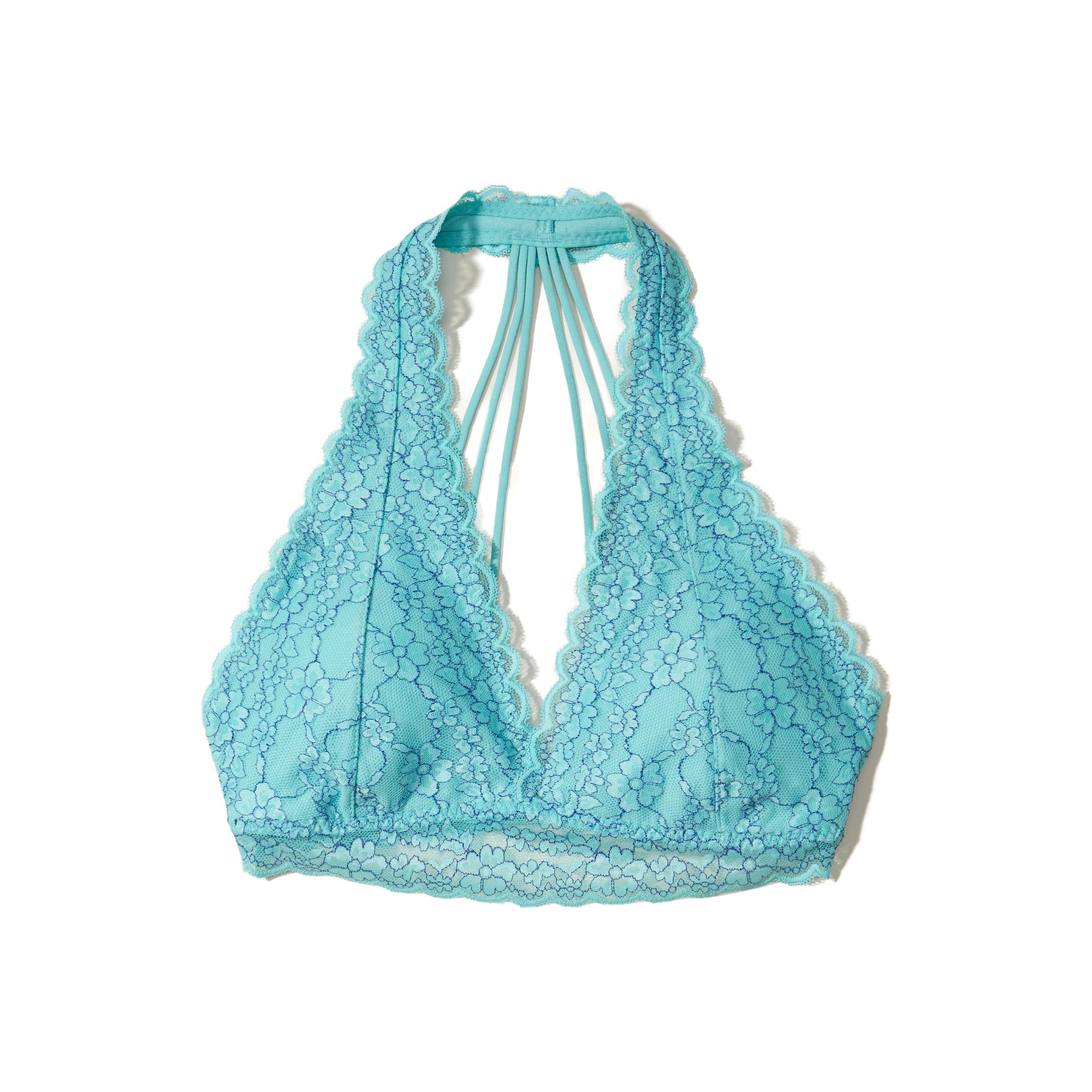 18d3426c6cc80 Lyst - Hollister Strappy Lace Halter Bralette With Removable Pads in ...