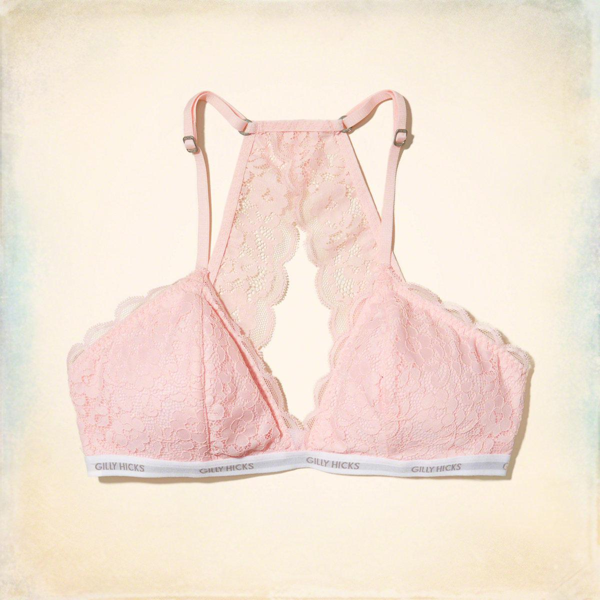 138cbc8385320 Lyst - Hollister Lace Racerback Triangle Bralette With Removable ...